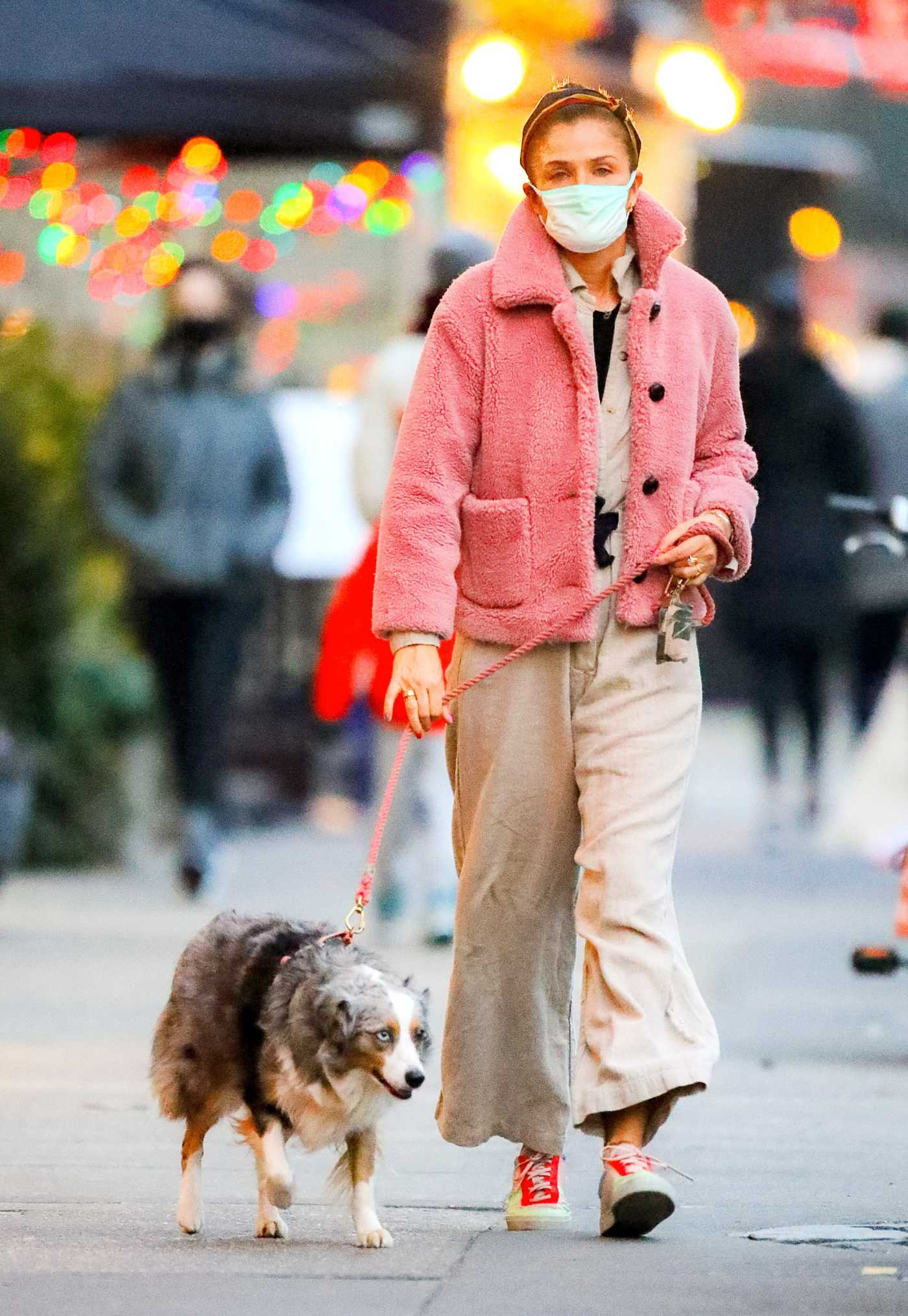 Helena Christensen in a Beige Jumpsuit Walks Her Dog in New York 01/14/2021
