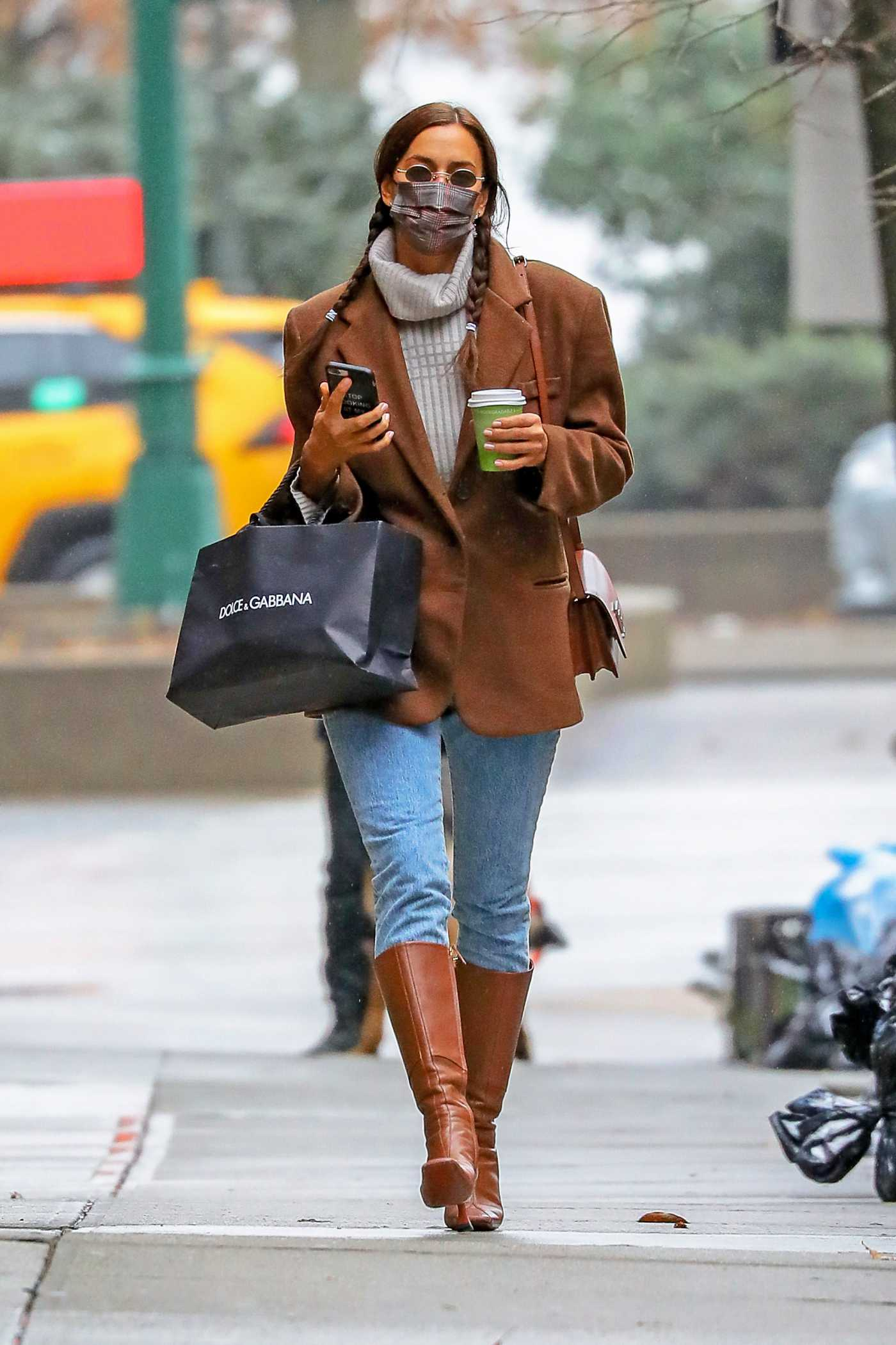 Irina Shayk in a Tan Blazer Was Spotted Out in New York 01/26/2021