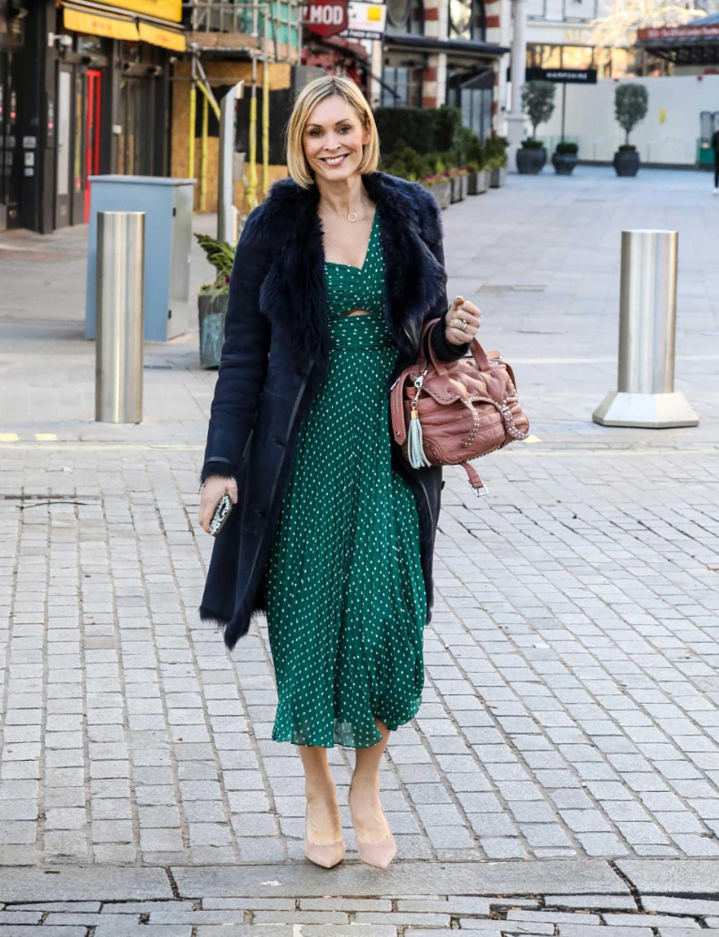 Jenni Falconer in Green Dress Leaves the Global Radio Studios in London 01/22/2021