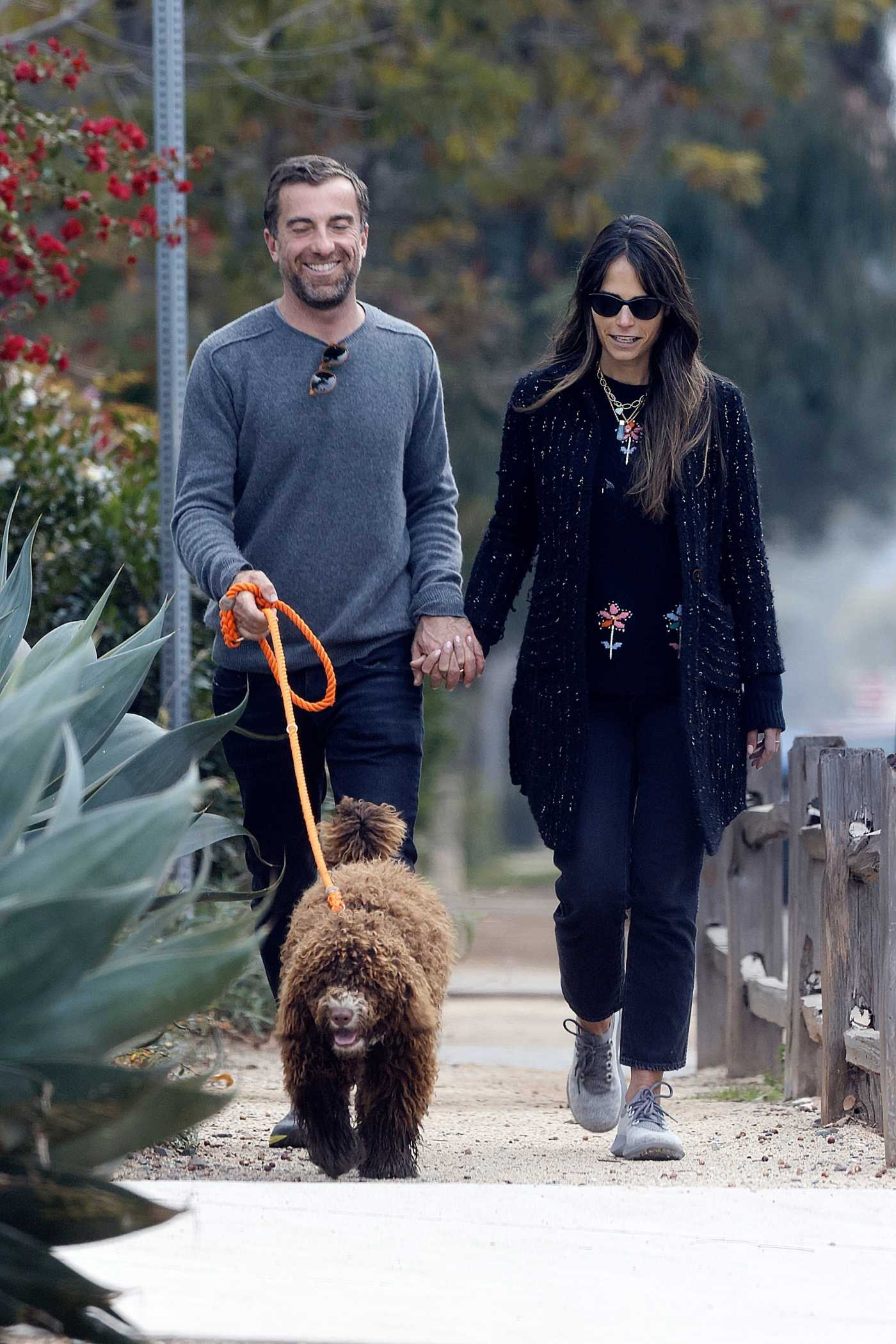 Jordana Brewster in a Black Cardigan Goes for a Walk with Her Boyfriend Mason Morfit and His Dog in Los Angeles 01/05/2021