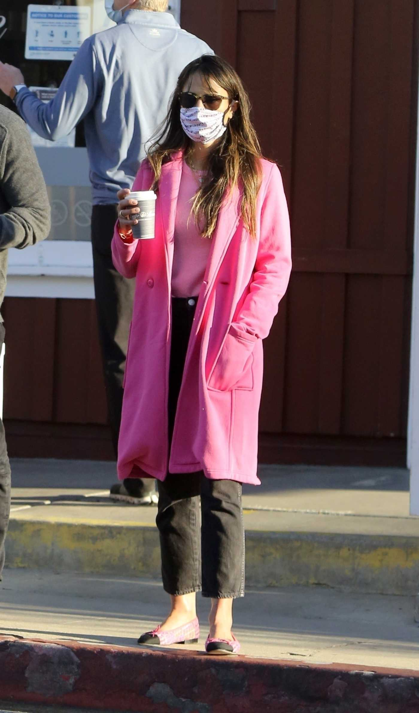 Jordana Brewster in a Pink Coat Was Seen Out with Mason Morfit in Los Angeles 01/19/2021