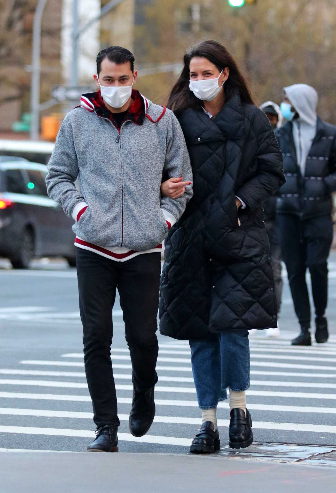 Katie Holmes in a Black Puffer Coat Was Seen Out with Her Boyfriend Emilio Vitolo Jr. in NYC 01/22/2021
