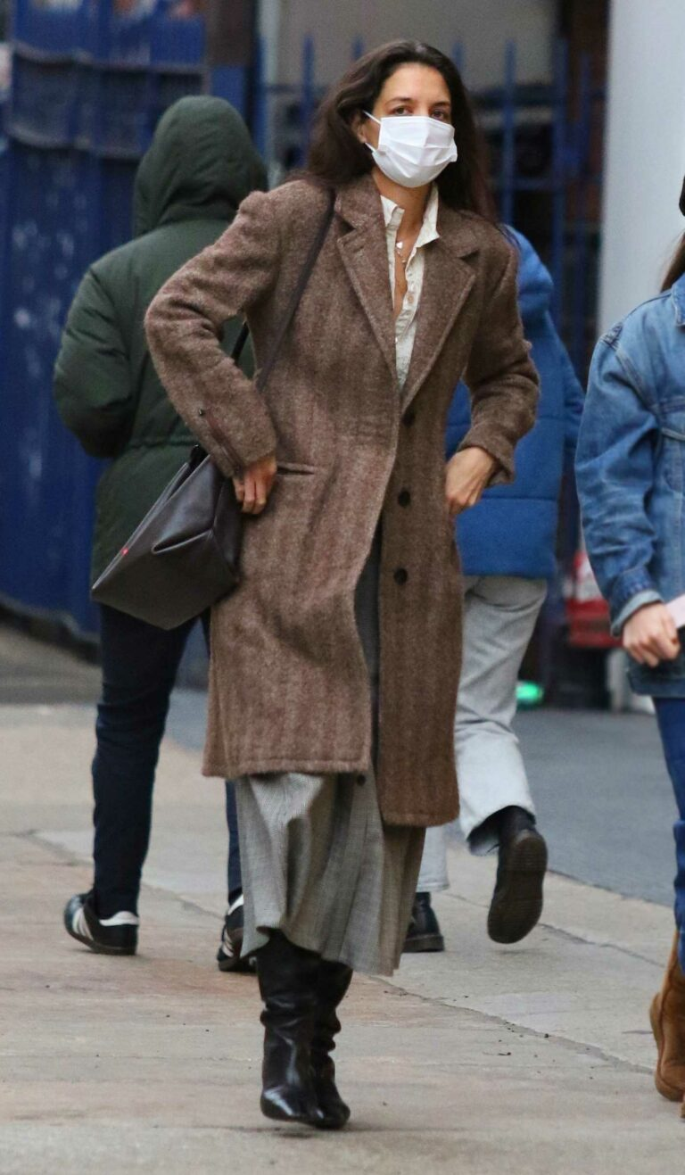 Katie Holmes in a Brown Coat