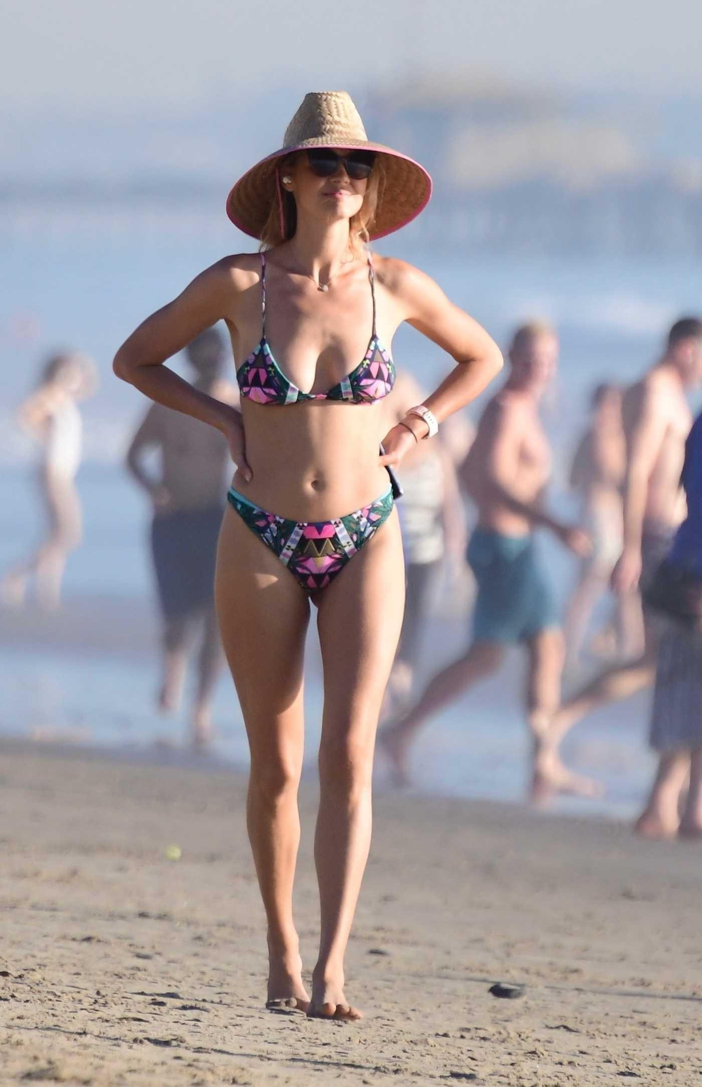 Kelly Rohrbach in a Colorful Bikini on the Beach in Santa Monica 01/17/2021