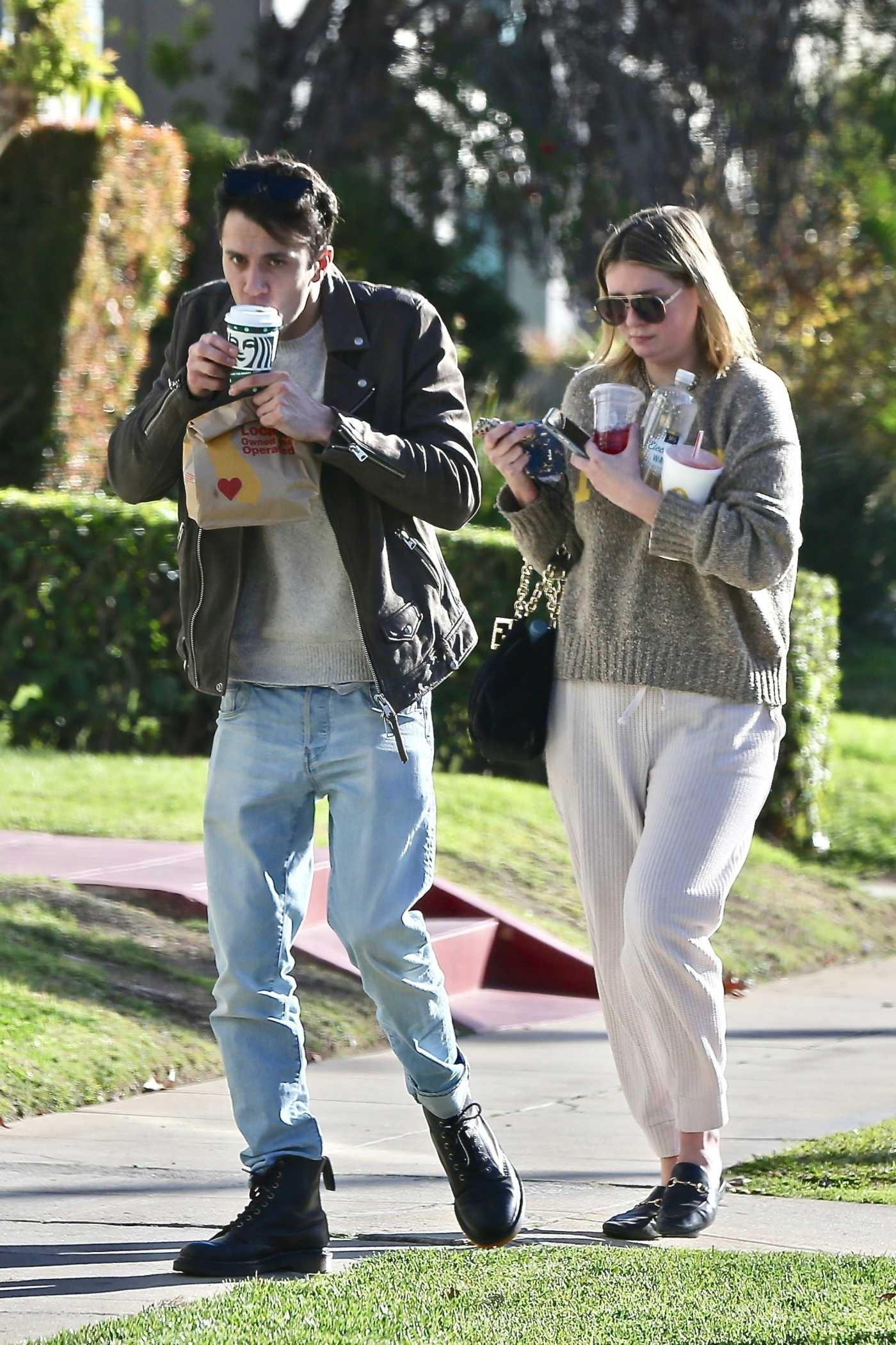 Mischa Barton in a Grey Sweatshirt Was Seen Out with Her Boyfriend Gian Marco Flamini in Los Feliz 12/30/2020