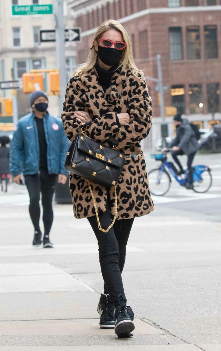 Nicky Hilton in an Animal Print Fur Coat