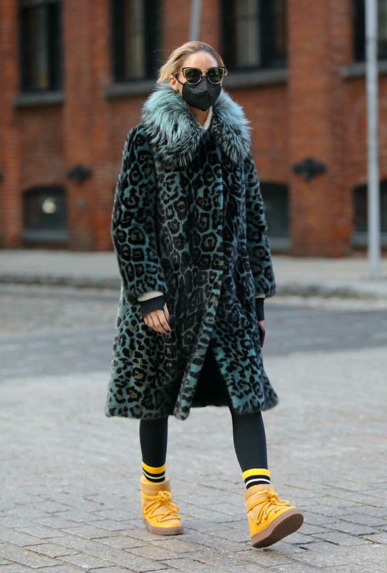 Olivia Palermo in a Blue Animal Print Fur Coat