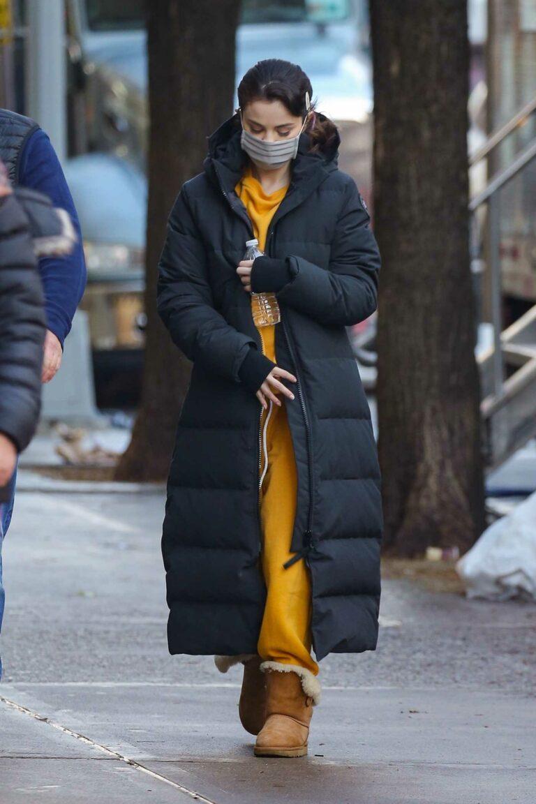 Selena Gomez in a Black Puffer Coat