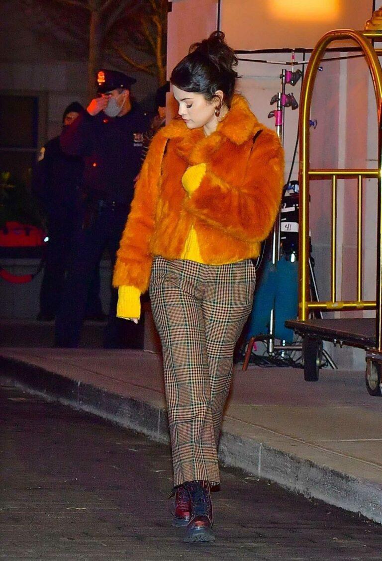 Selena Gomez in an Orange Fur Coat
