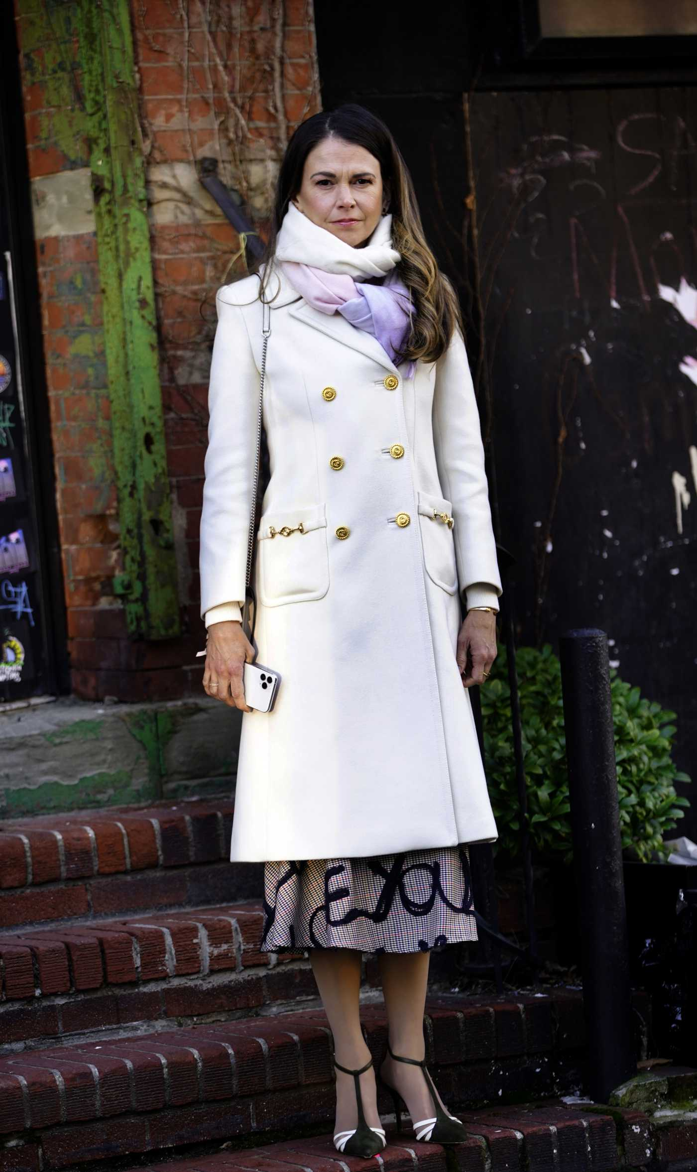 Sutton Foster in a White Coat on the Set of Younger in Brooklyn, NYC 01/21/2021