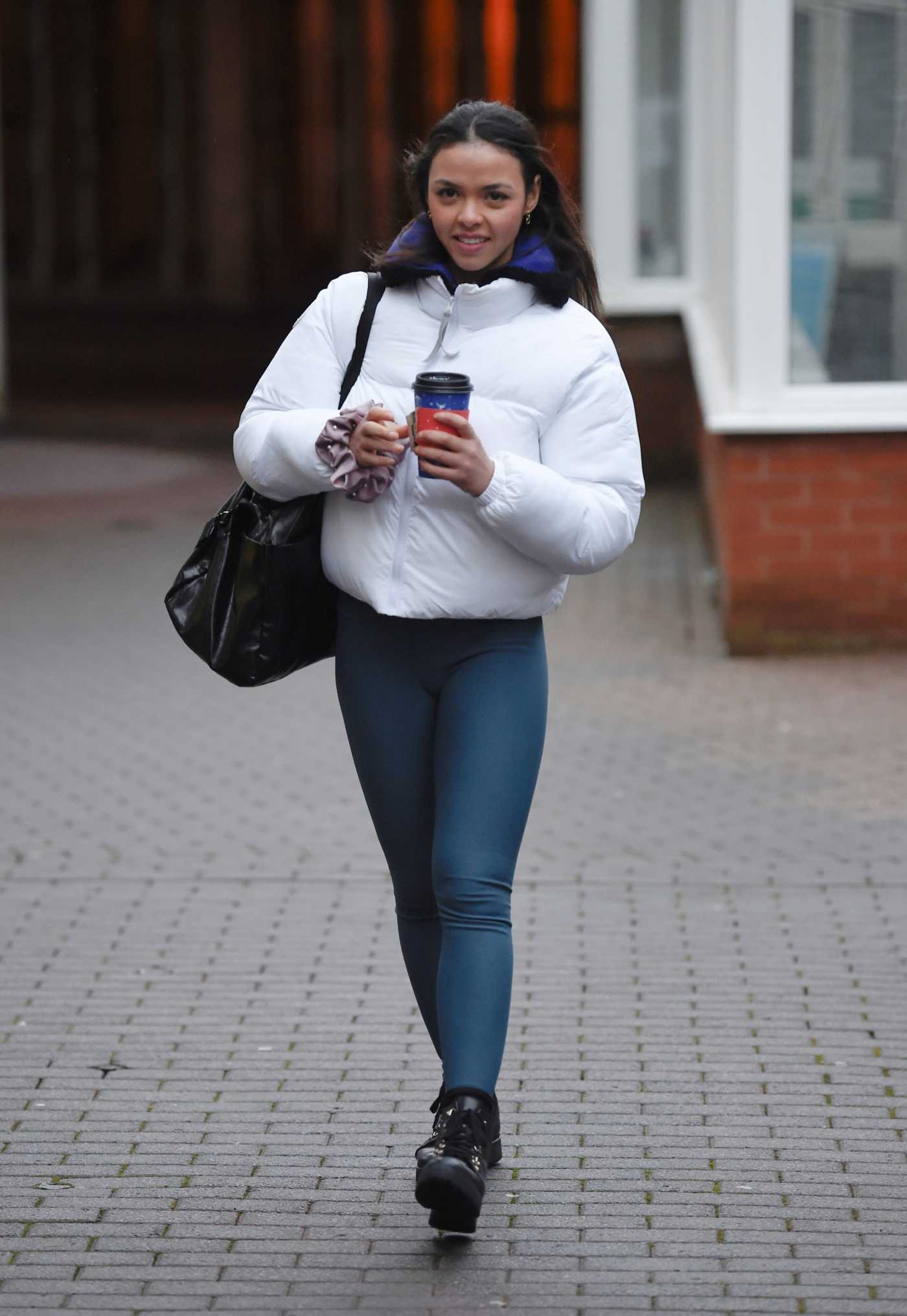 Vanessa Bauer in a White Puffer Jacket Arrives at Dancing On Ice Practice in Blackpool 01/08/2021