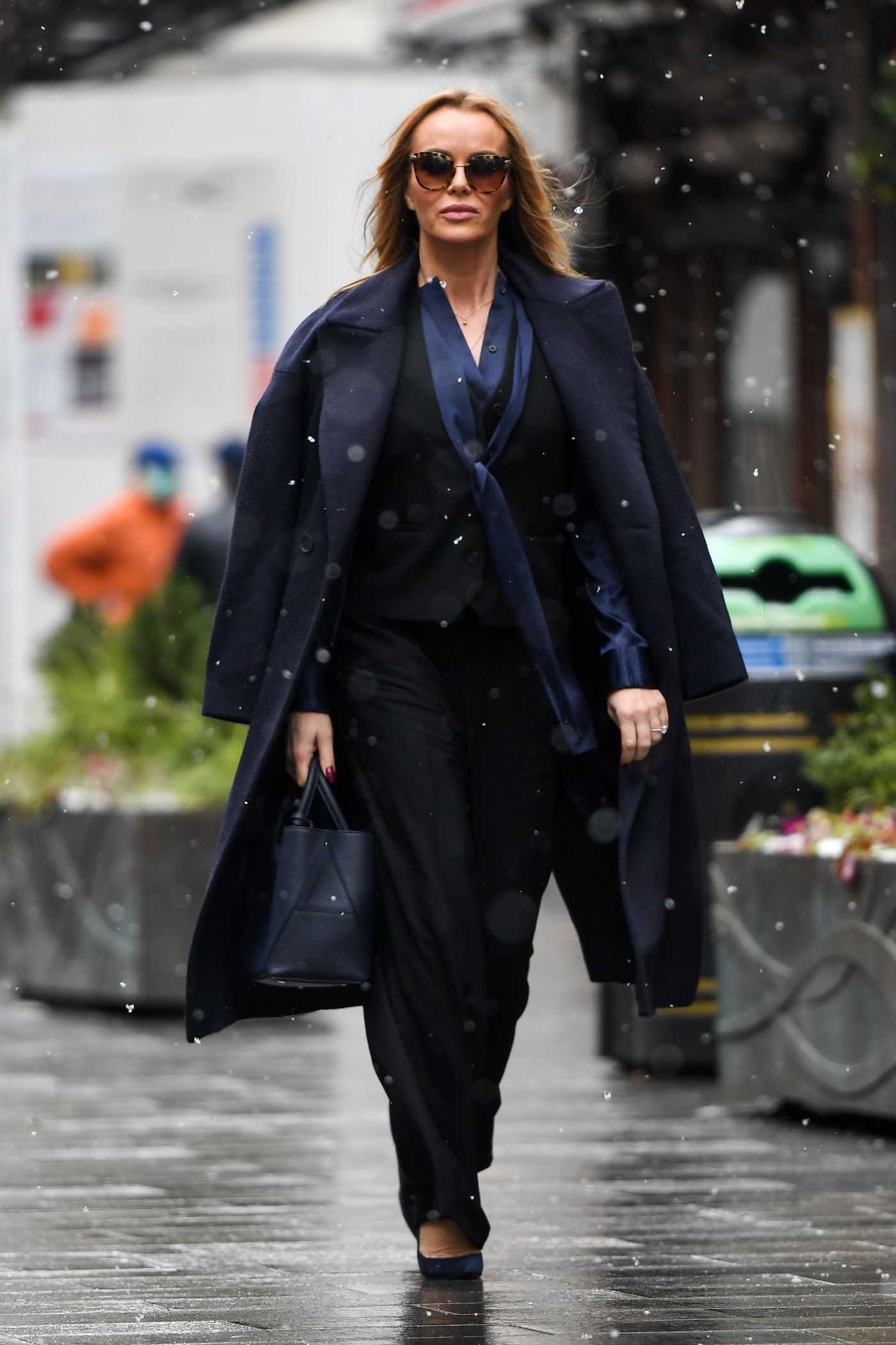 Amanda Holden in a Black Pantsuit Leaves the Global Radio Studios in London 02/09/2021