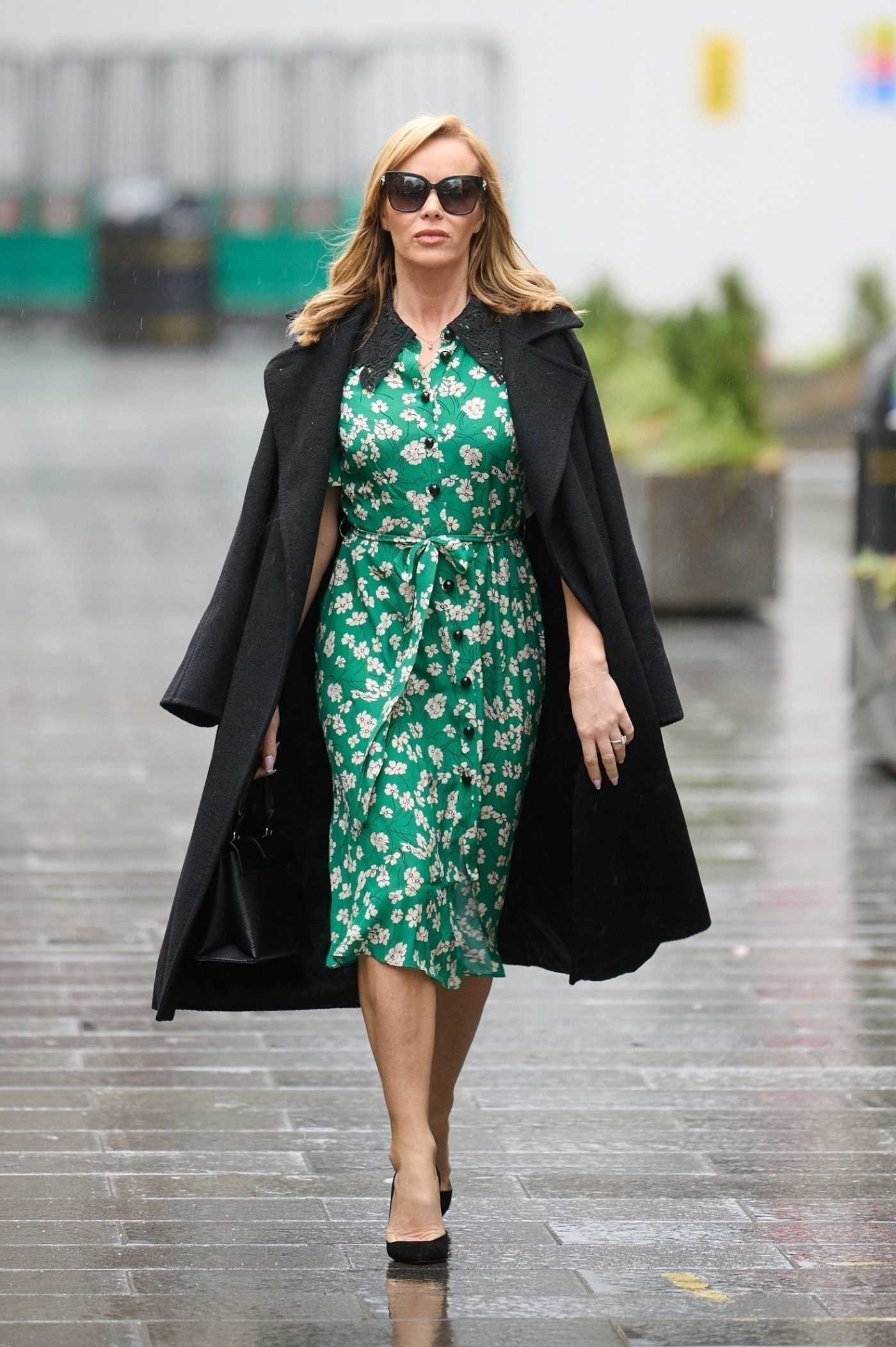 Amanda Holden in a Green Floral Dress Leaves the Global Radio Studios in Central London 02/03/2021