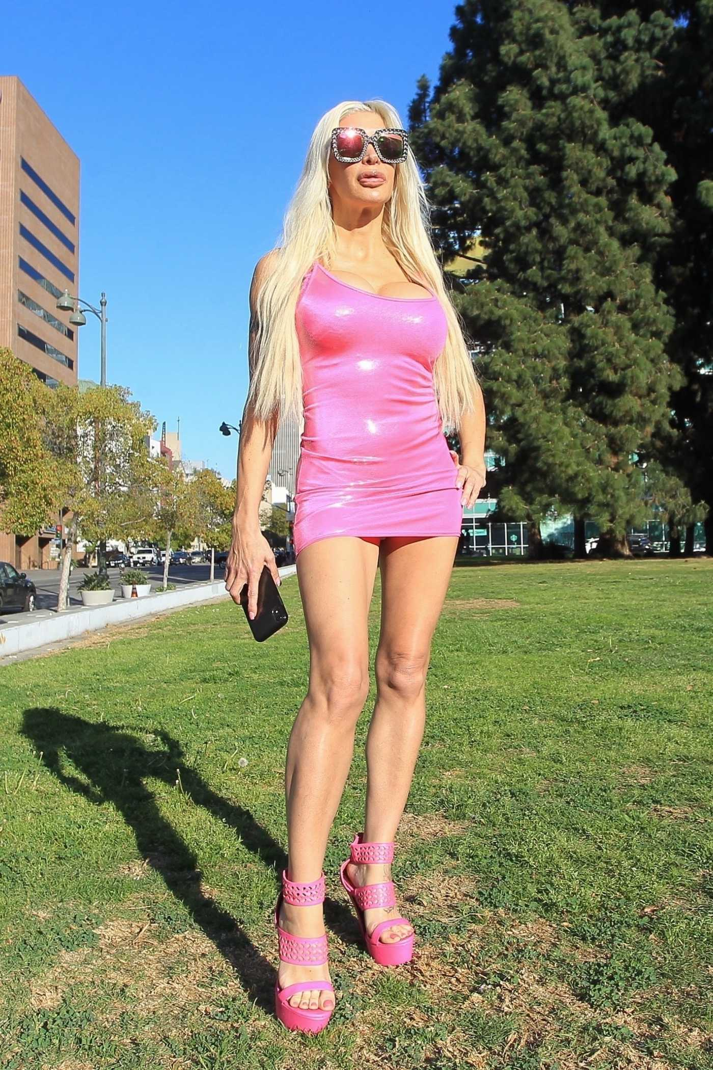 Angelique Morgan in a Pink Mini Dress Was Seen Out in Los Angeles 02/26/2021
