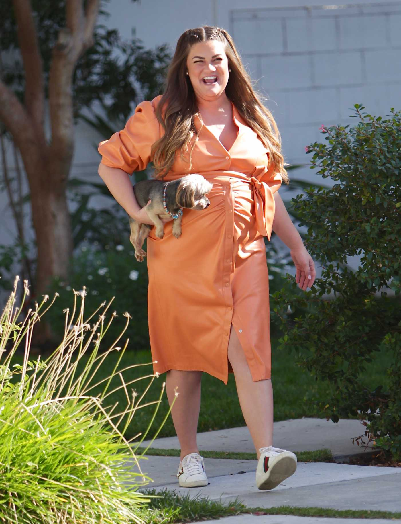 Brittany Cartwright in an Orange Dress Was Seen Out in Los Angeles 02/03/2021