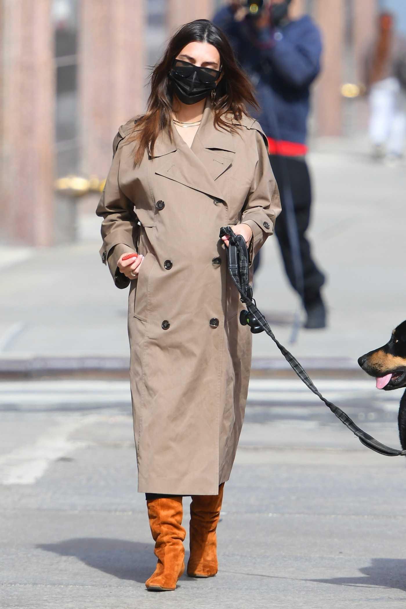 Emily Ratajkowski in a Beige Trench Coat Walks Her Dog Colombo in New York 02/26/2021