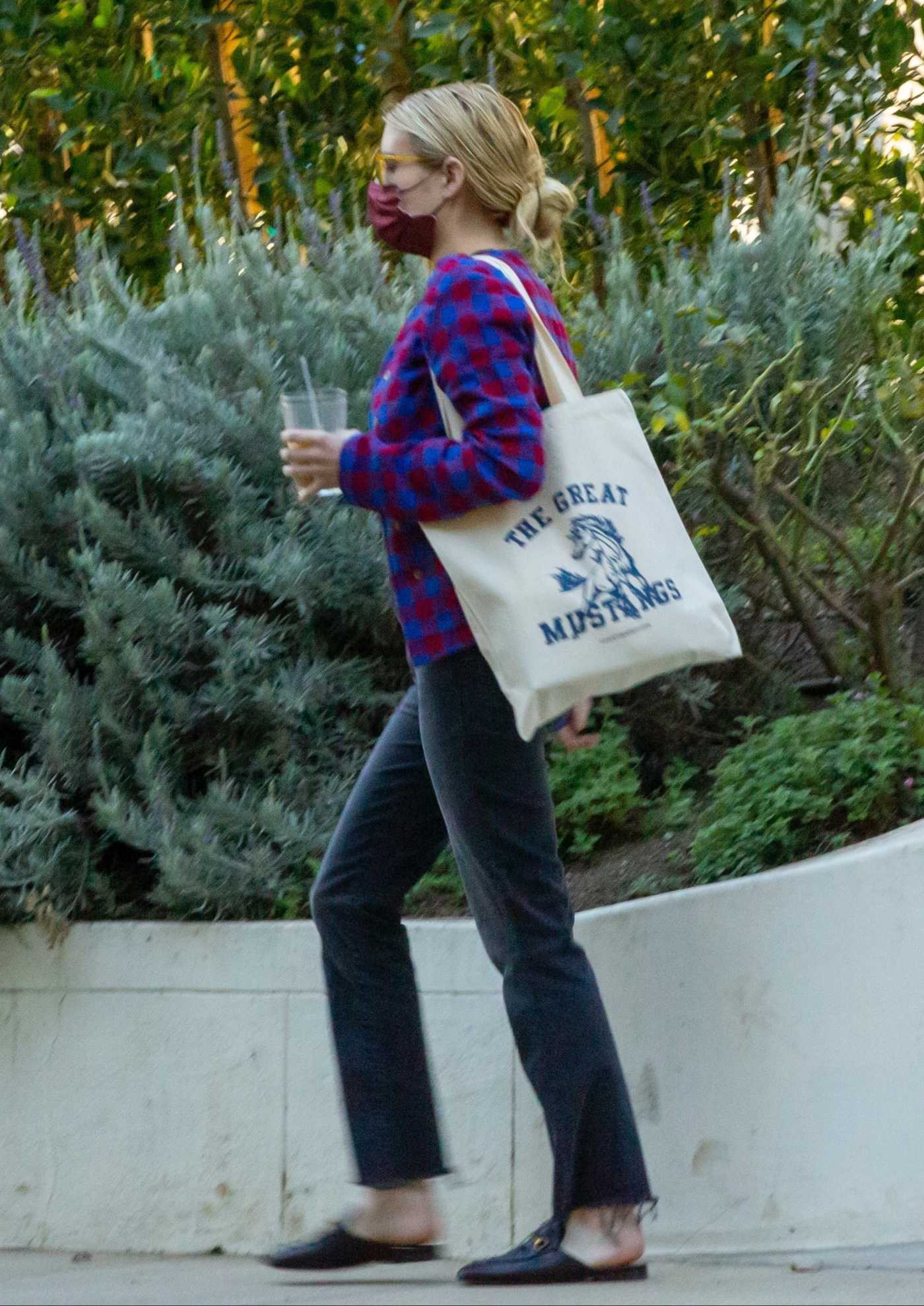 Emma Roberts in a Plaid Cardigan Was Seen Out in Los Angeles 02/23/2021