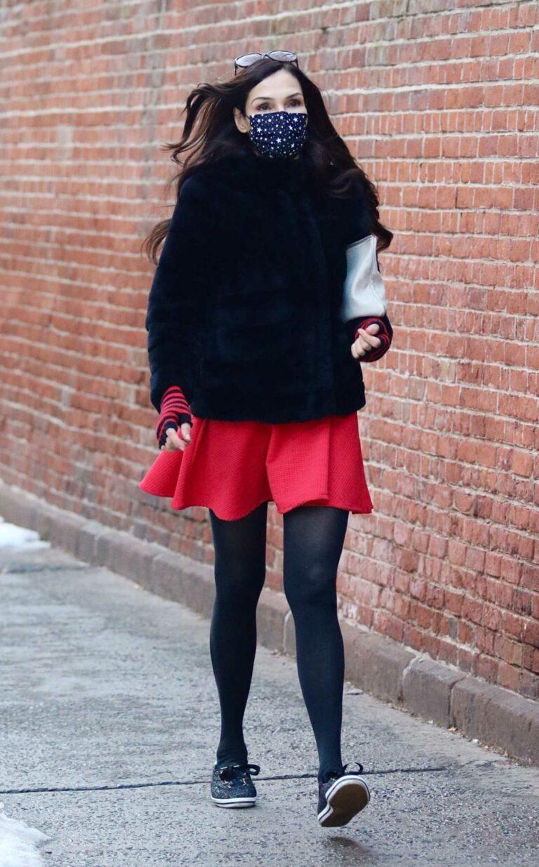 Famke Janssen in a Red Mini Skirt