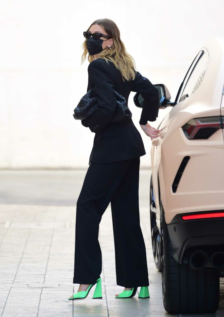 Hailey Baldwin in a Black Pantsuit