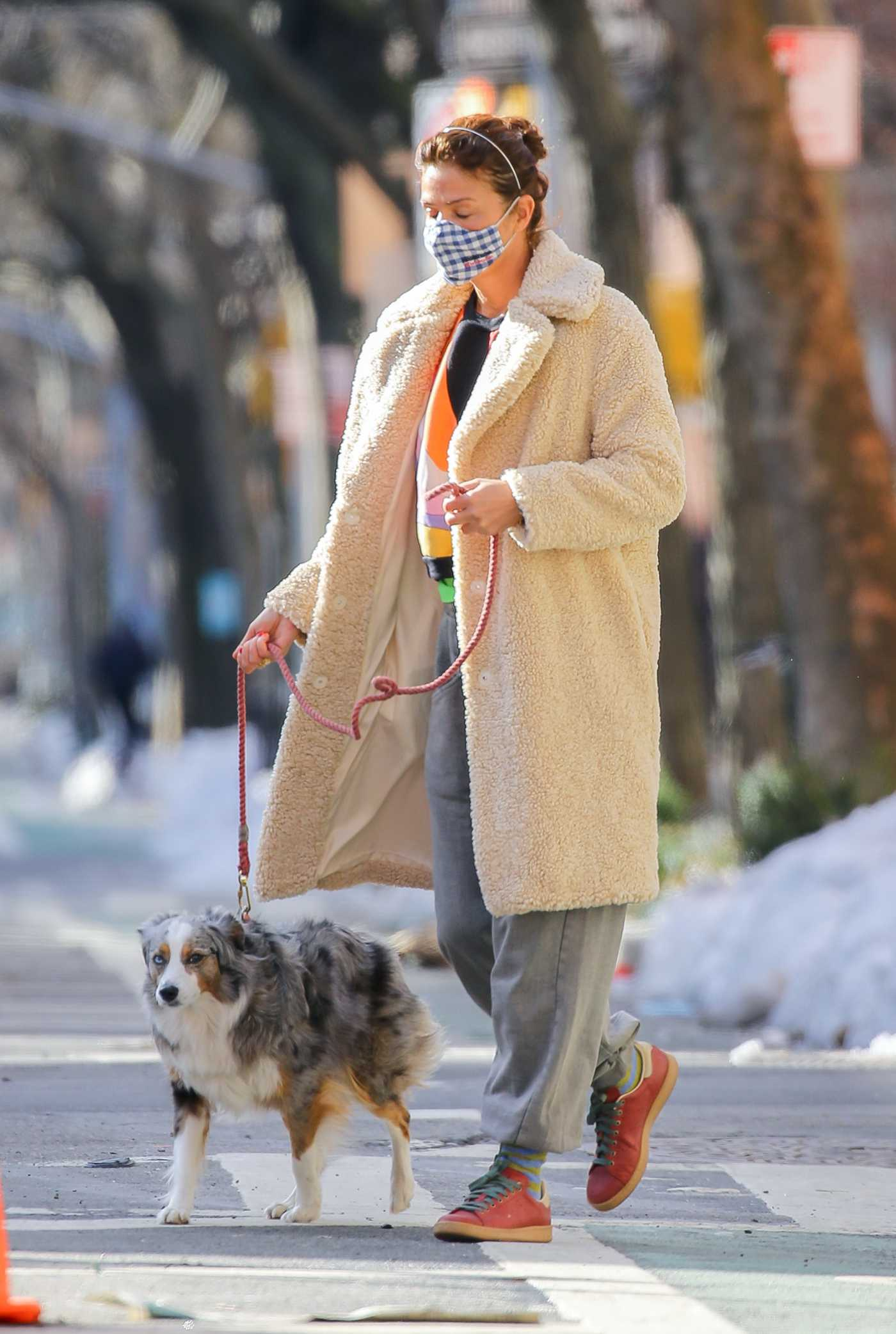 Helena Christensen in a Beige Fur Coat Walks Her Dog in New York 02/20/2021