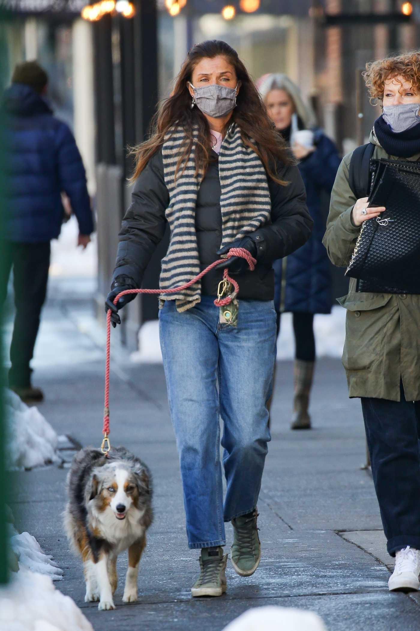 Helena Christensen in a Black Jacket Walks Her Dog in West Village 02/04/2021