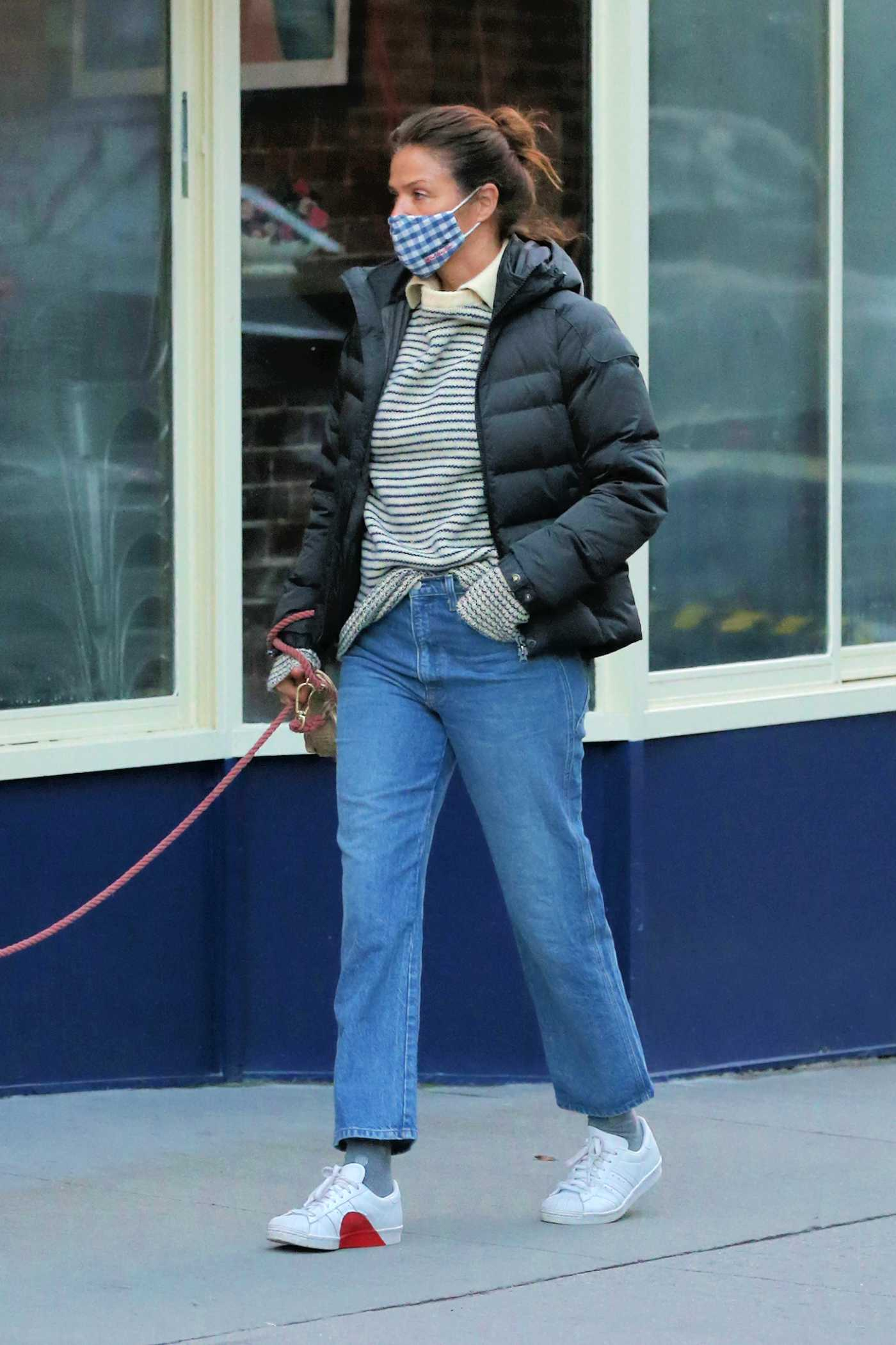 Helena Christensen in a White Sneakers Walks Her Dog in New York 02/16/2021