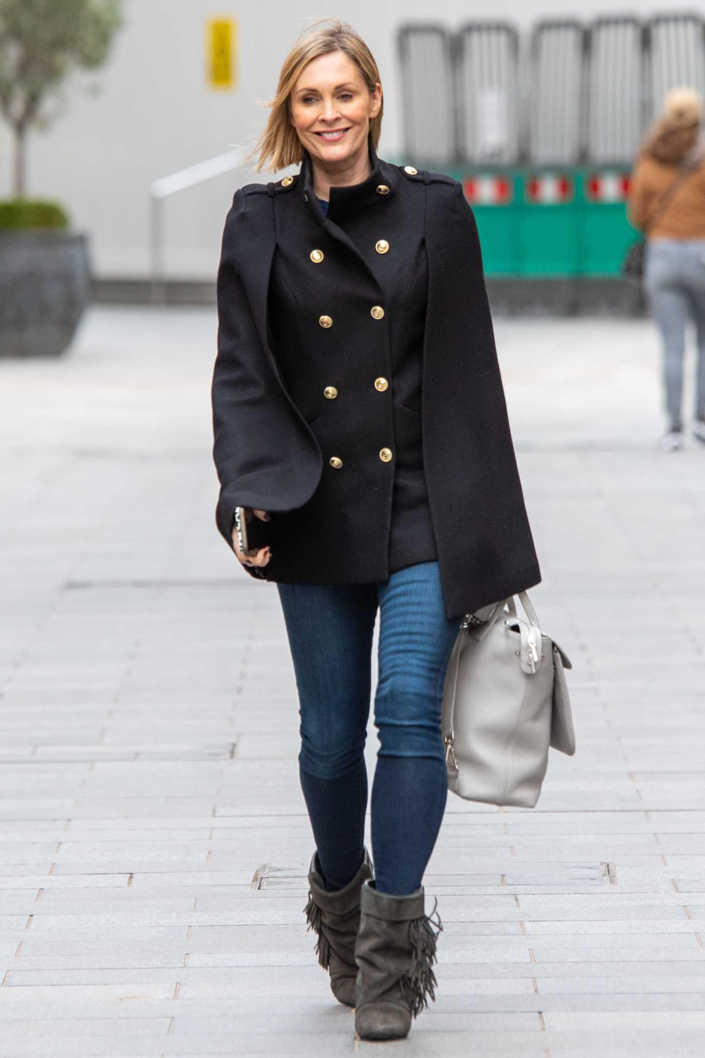 Jenni Falconer in a Black Jacket Leaves the Global Studios in London 02/19/2021