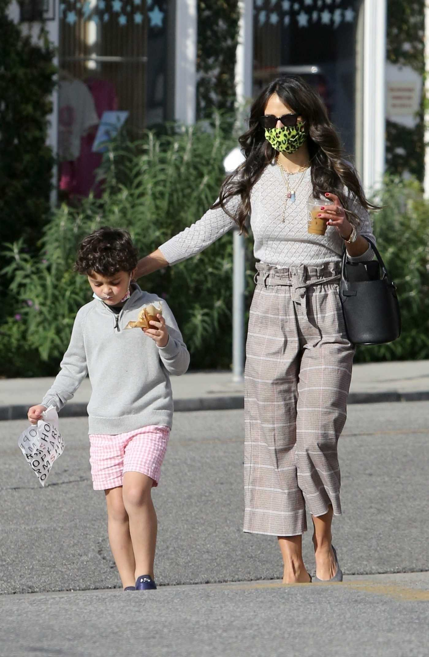 Jordana Brewster in a Beige Outfit Was Seen Out with Her Son in Los Angeles 02/16/2021