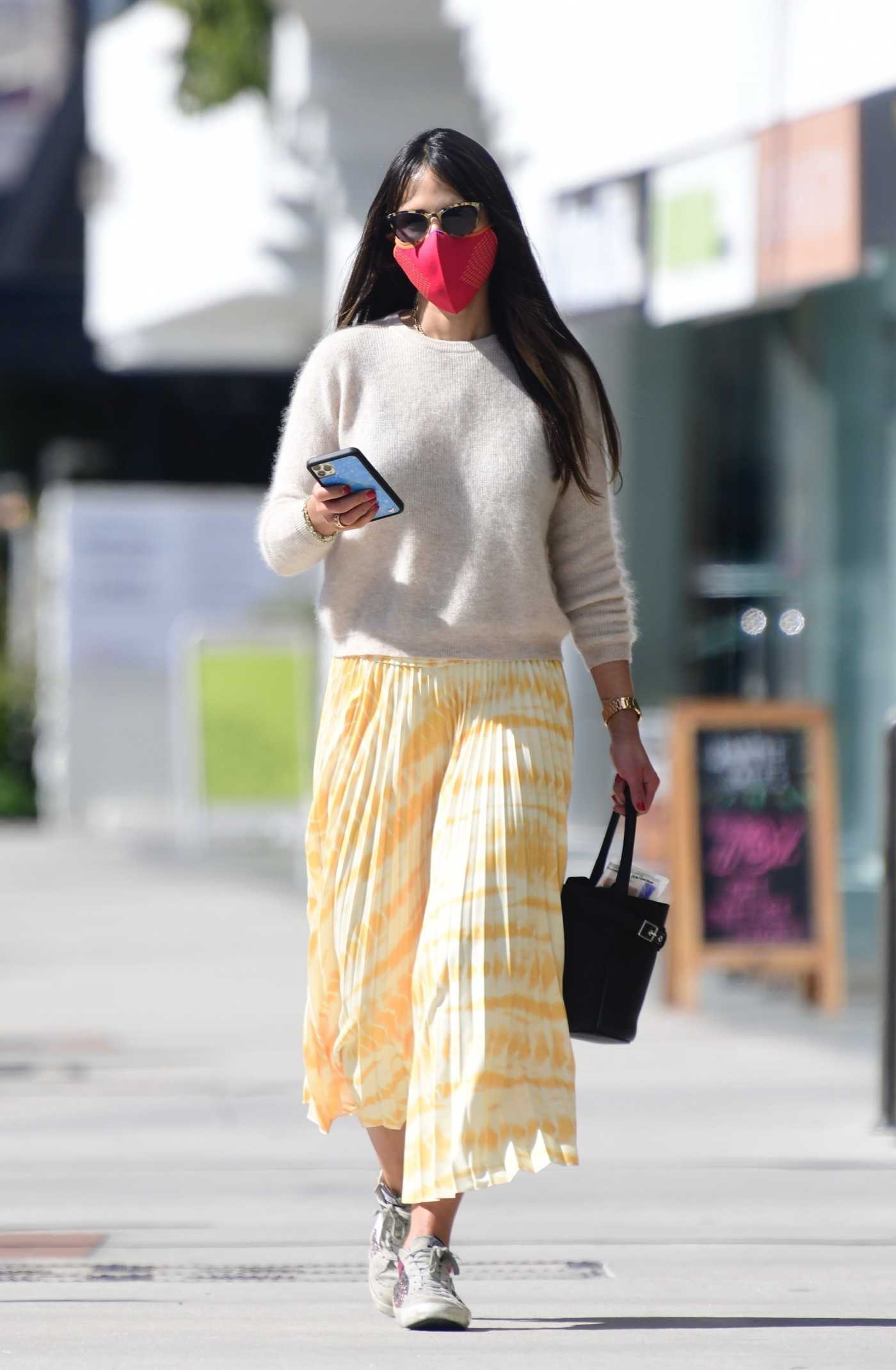 Jordana Brewster in a Yellow Skirt Was Seen Out in Brentwood 02/20/2021