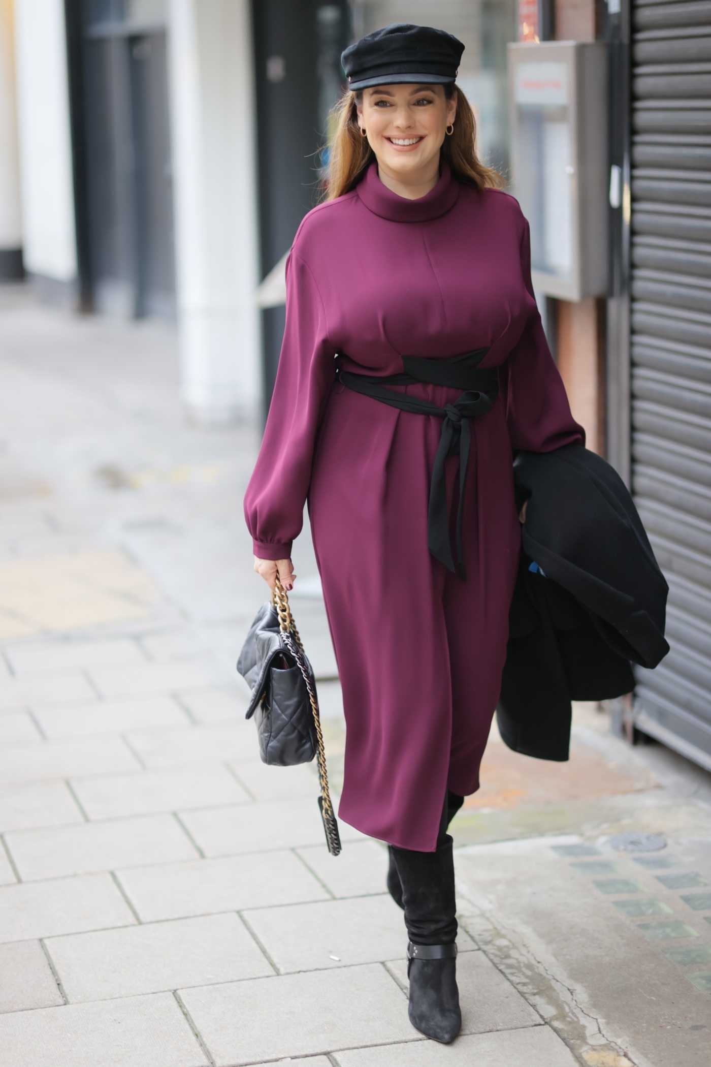 Kelly Brook in a Stylish Lilac Dress Arrives at the Heart Radio Studios in London 02/03/2021
