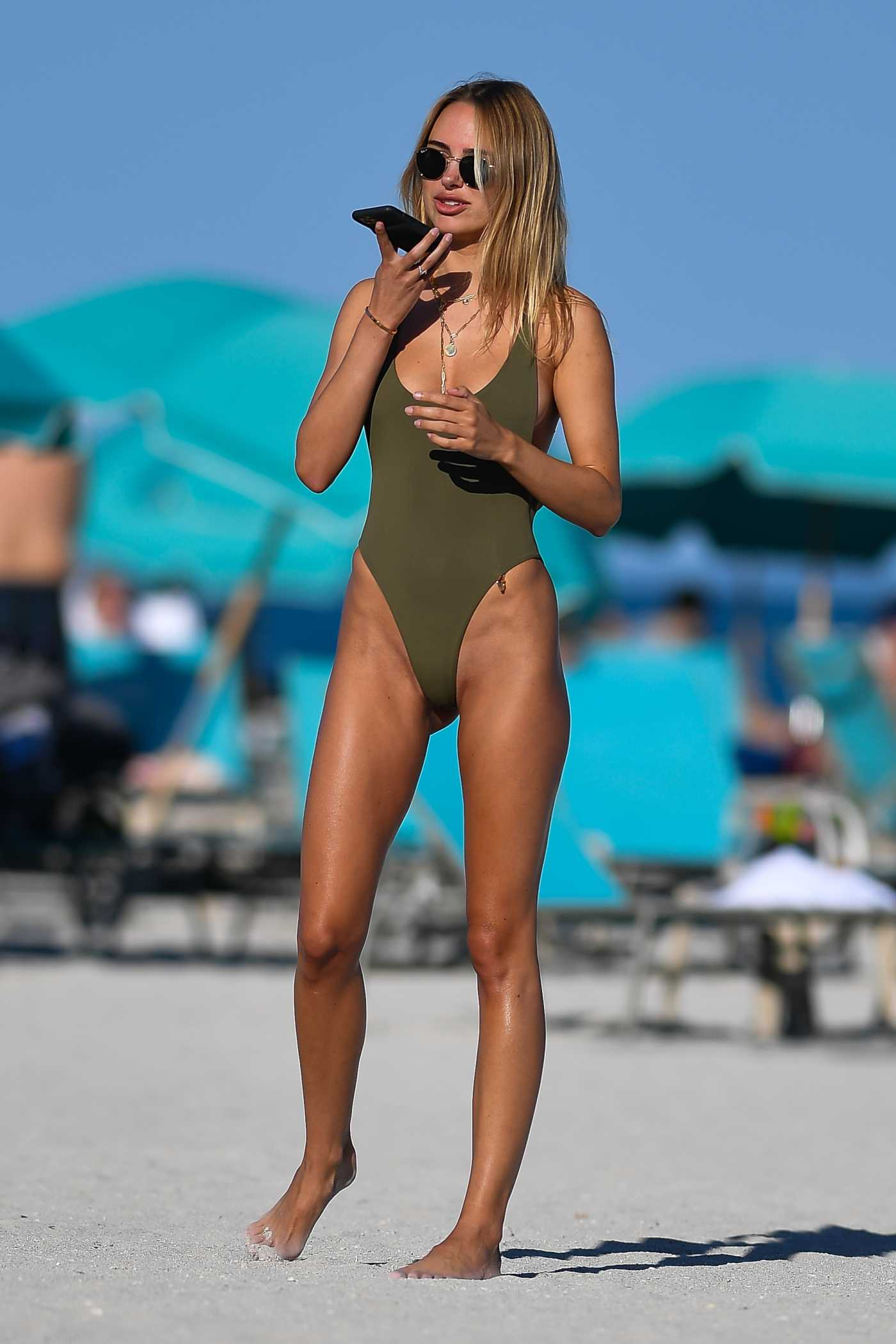 Kimberley Garner in an Olive Swimsuit on the Beach in Miami 02/05/2021