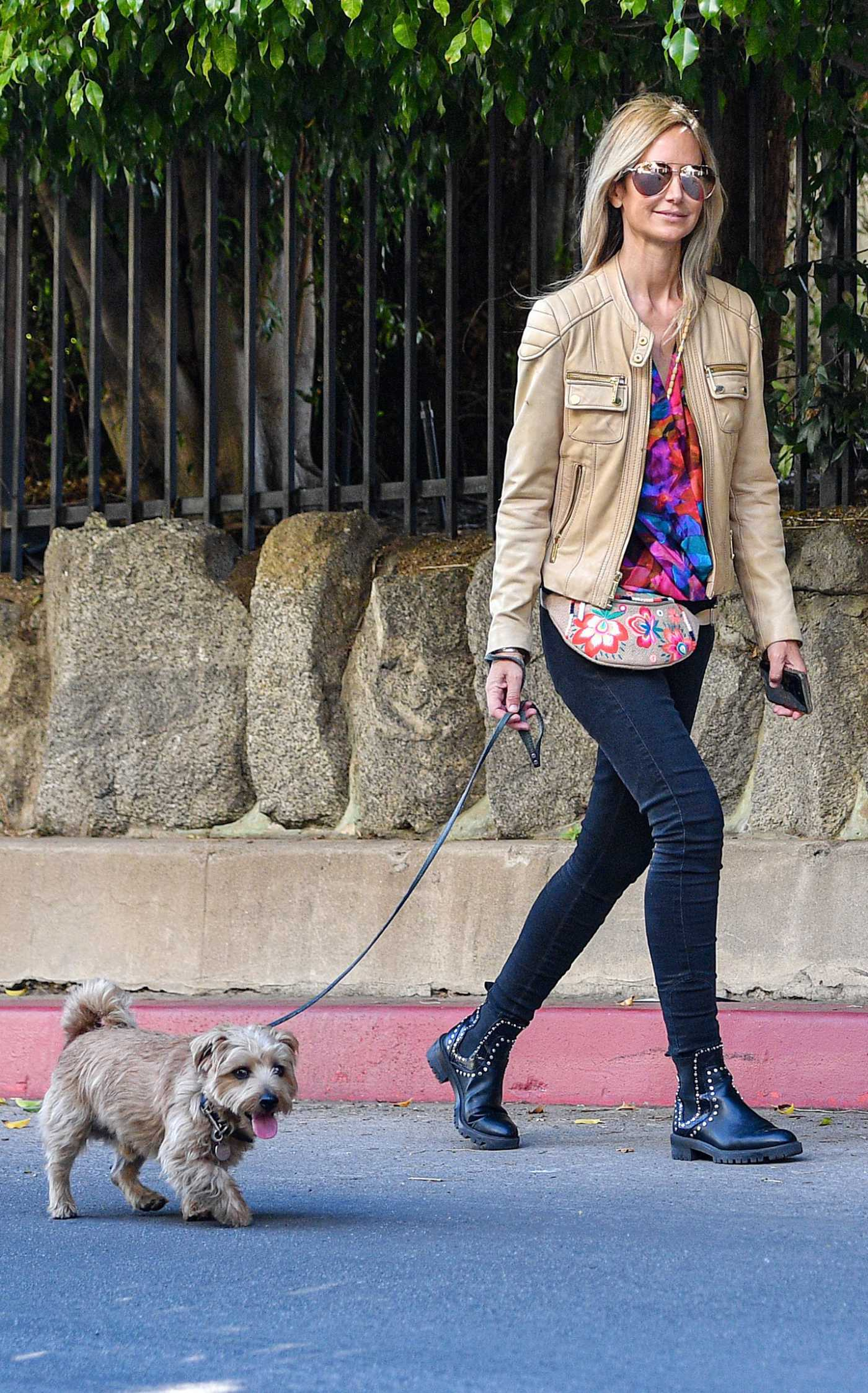 Lady Victoria Hervey in a Beige Leather Jacket Walks Her Dog in Los Angeles 02/20/2021