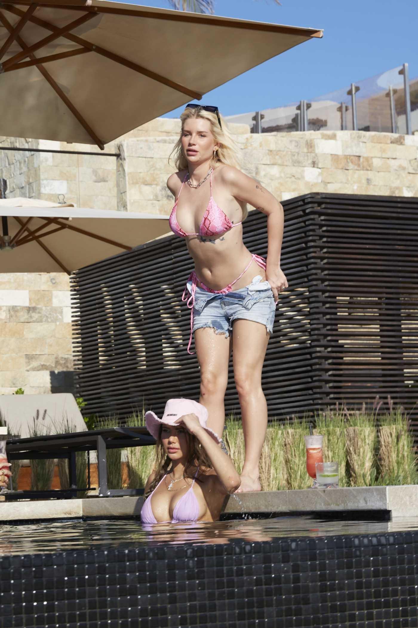 Lottie Moss in a Pink Bikini By the Pool in Palm Springs 02/17/2021