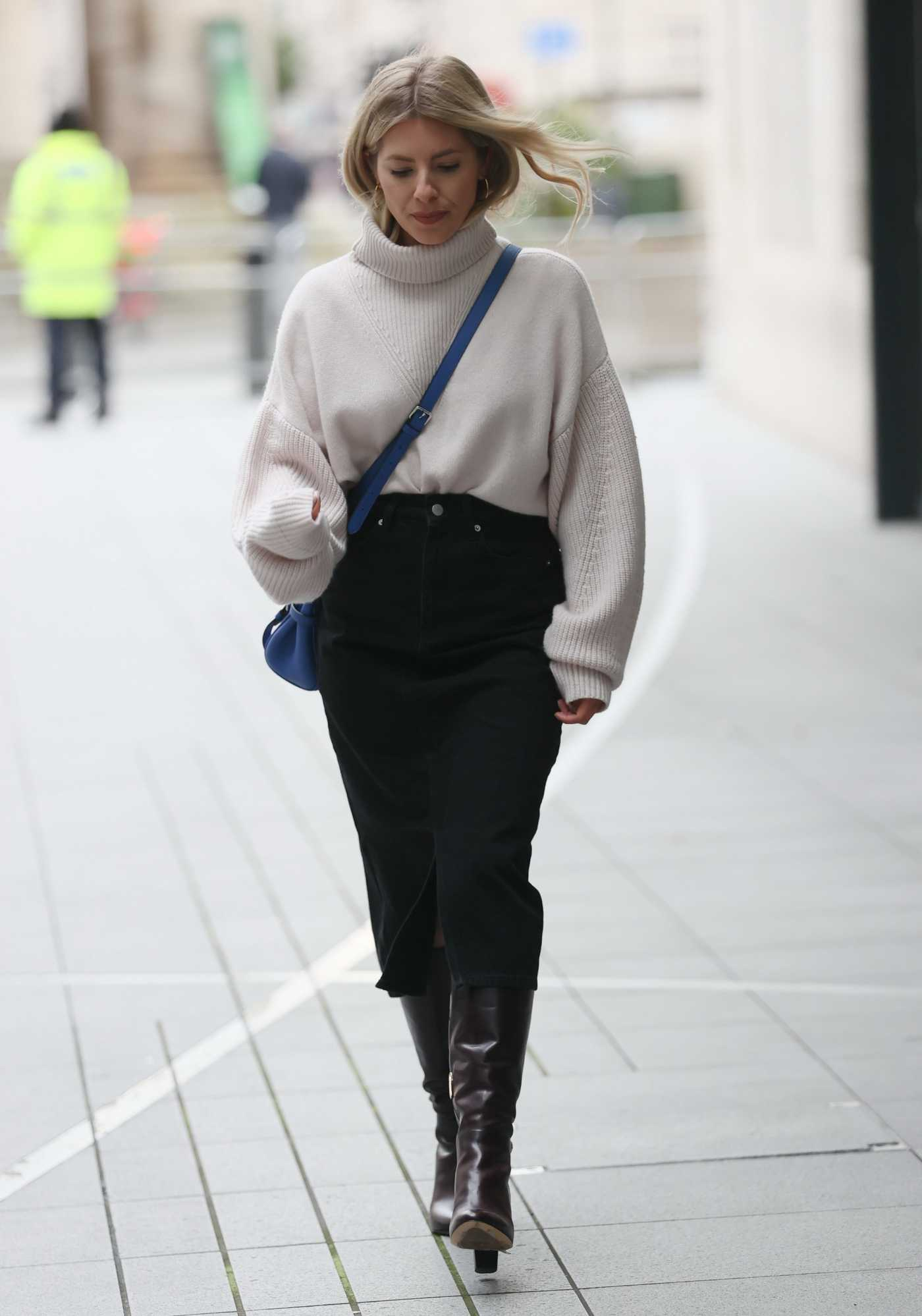 Mollie King in a Black Skirt Arrives at the BBC Radio 1 During the COVID-19 Lockdown in London 02/06/2021