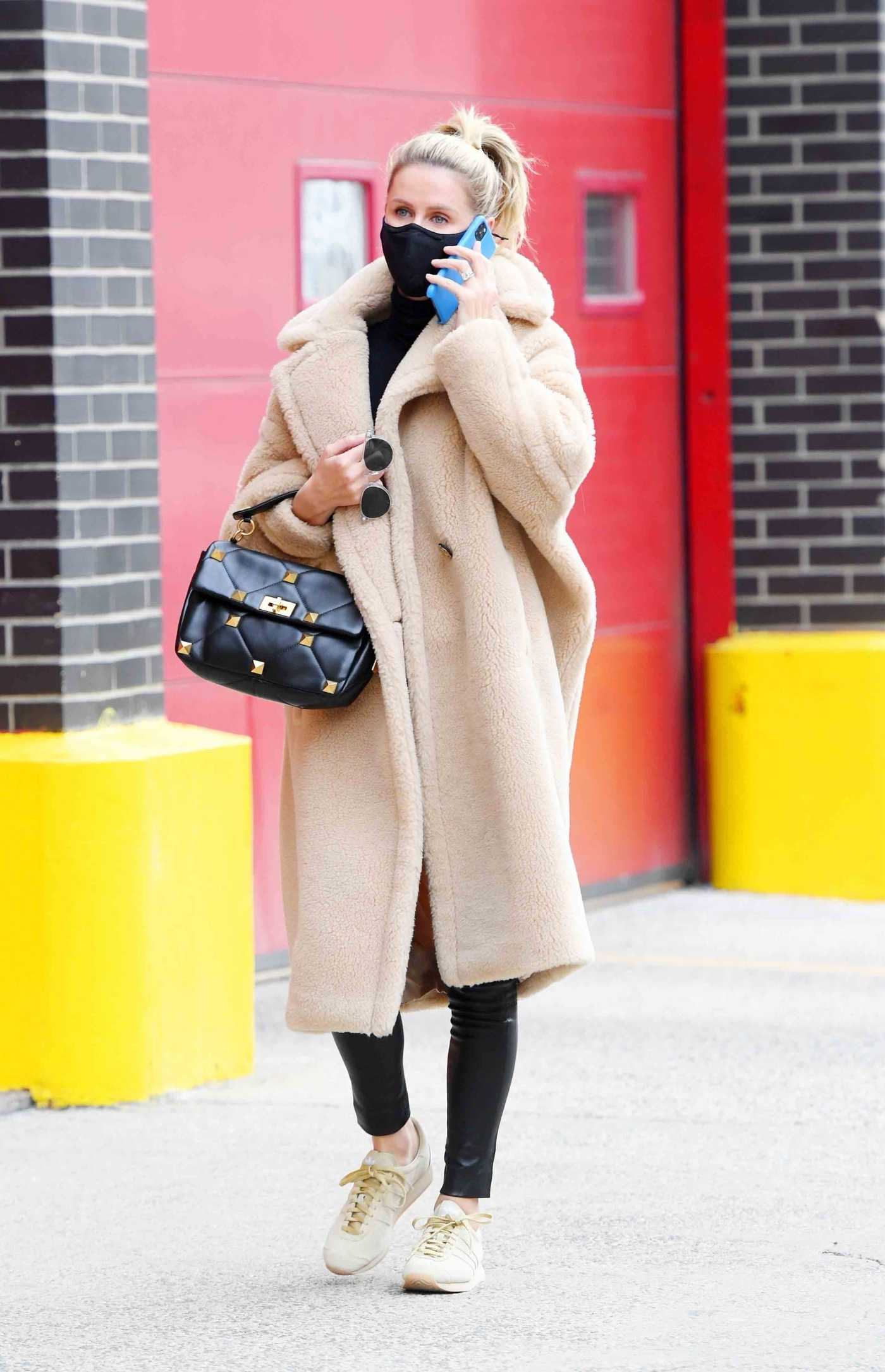 Nicky Hilton in a Beige Fur Coat Was Seen Out in SoHo, New York 02/27/2021