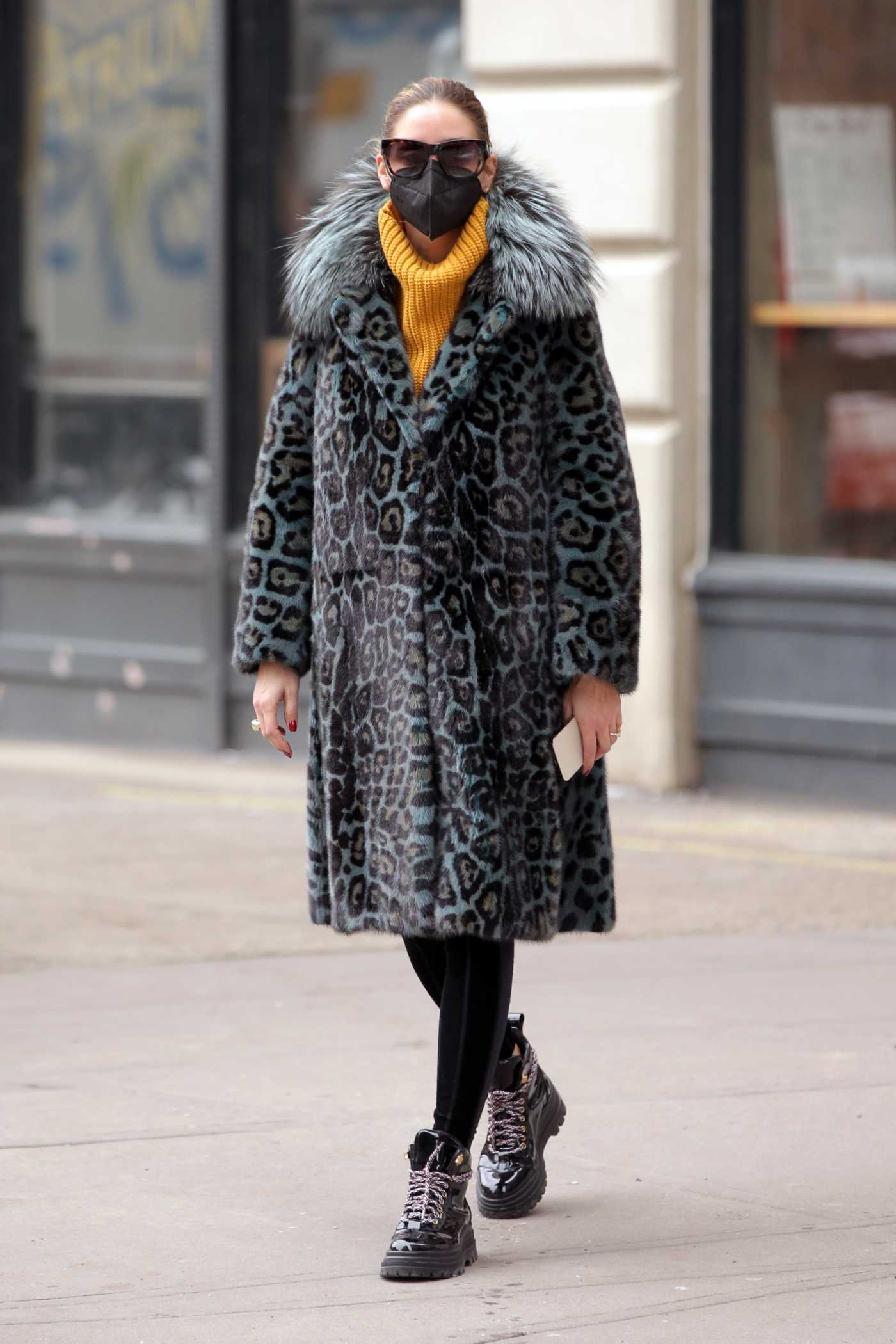 Olivia Palermo in an Animal Print Fur Coat Was Seen Out in New York 02/12/2021