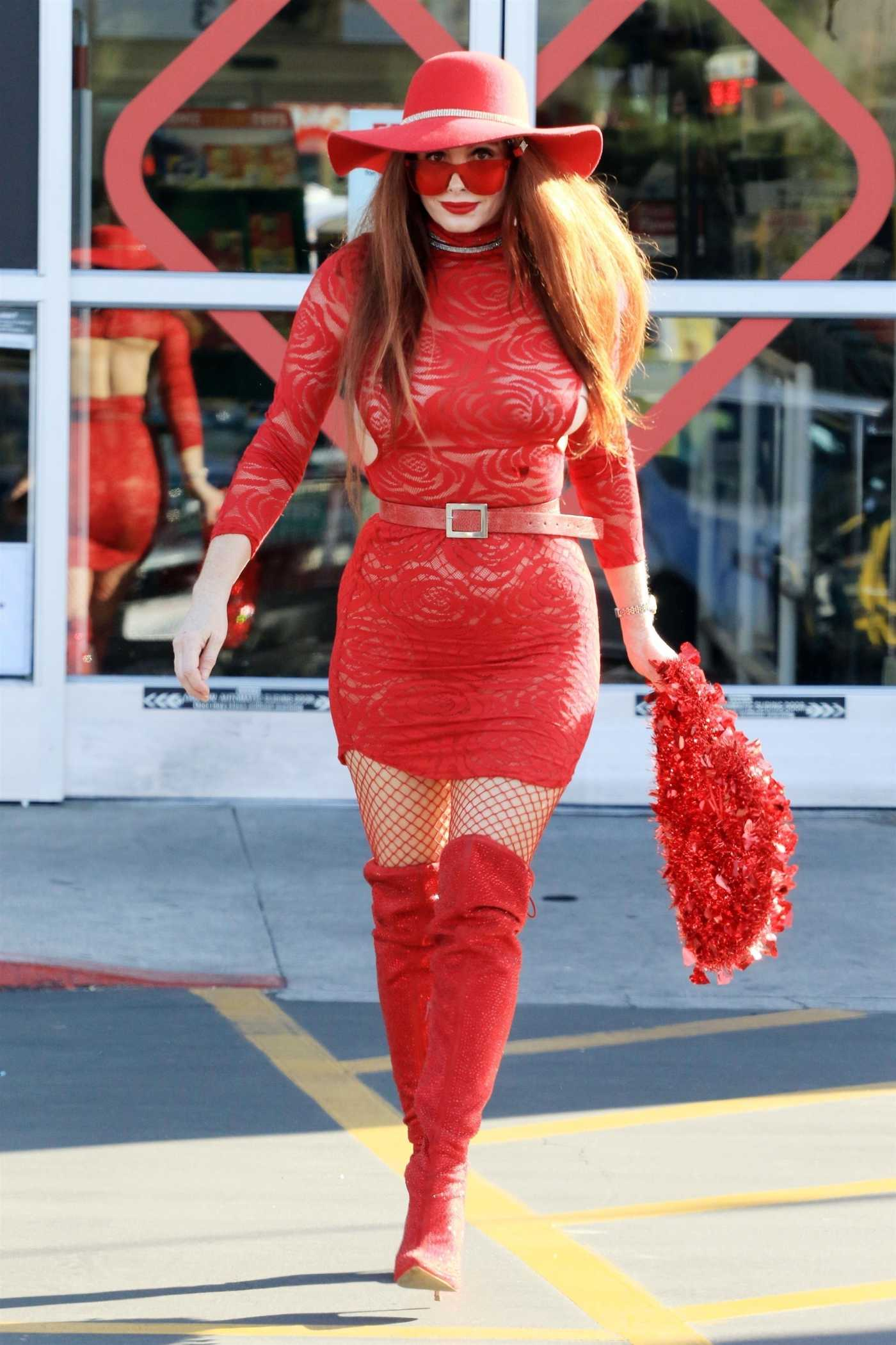 Phoebe Price in a Red Mini Dress Arrives at CVS Pharmacy in Los Angeles 02/12/2021