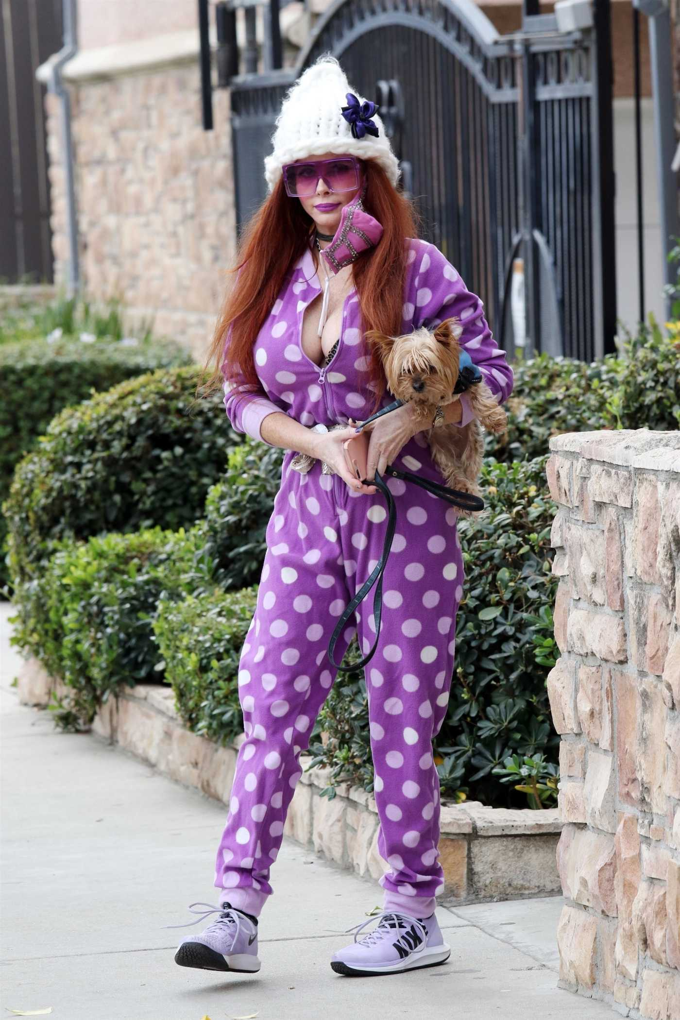 Phoebe Price in a Stretch Polka Dot Lilac Jumpsuit Walks Her Dog in Los Angeles 02/09/2021