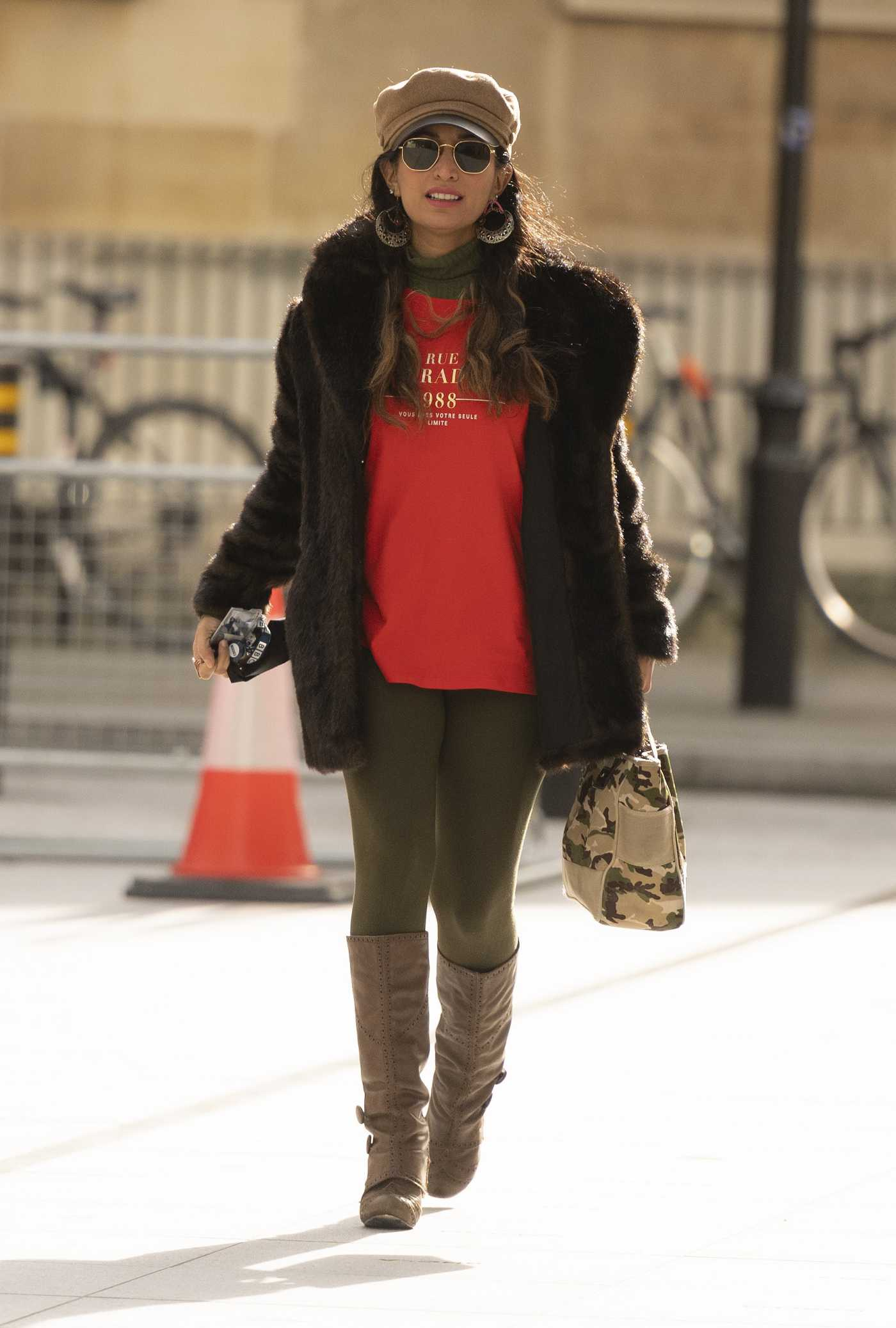Preeya Kalidas in a Beige Cap Arrives at the BBC Broadcasting House in London 02/20/2021