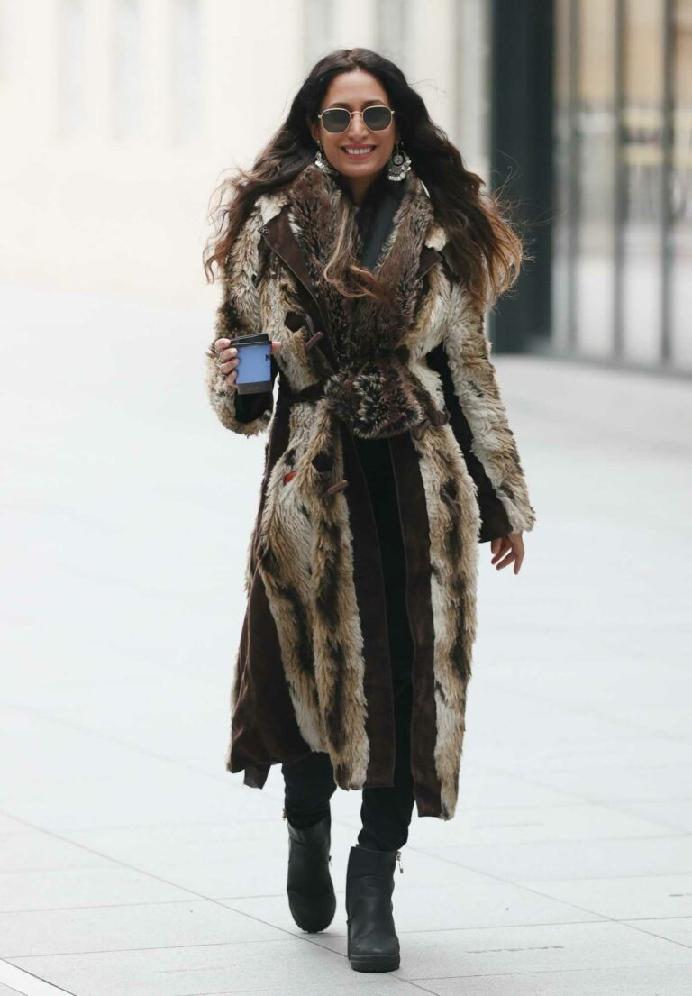 Preeya Kalidas in a Faux Fur Coat