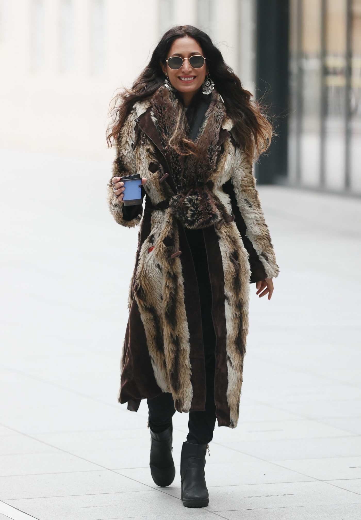 Preeya Kalidas in a Faux Fur Coat Was Spotted During the COVID-19 Lockdown in London 02/06/2021