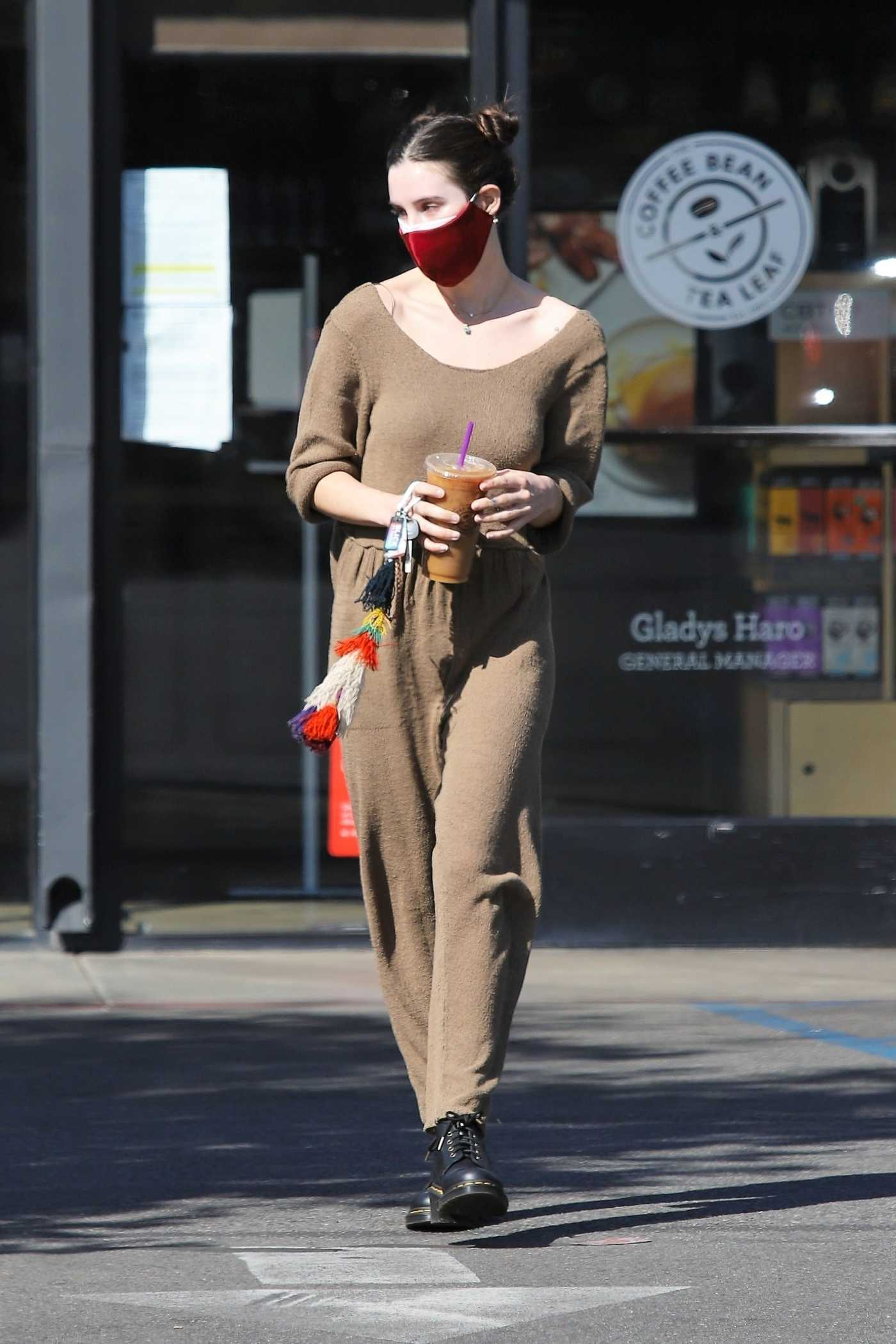 Scout Willis in a Red Protective Mask Arrives at a Gas Station in Los Feliz 02/25/2021