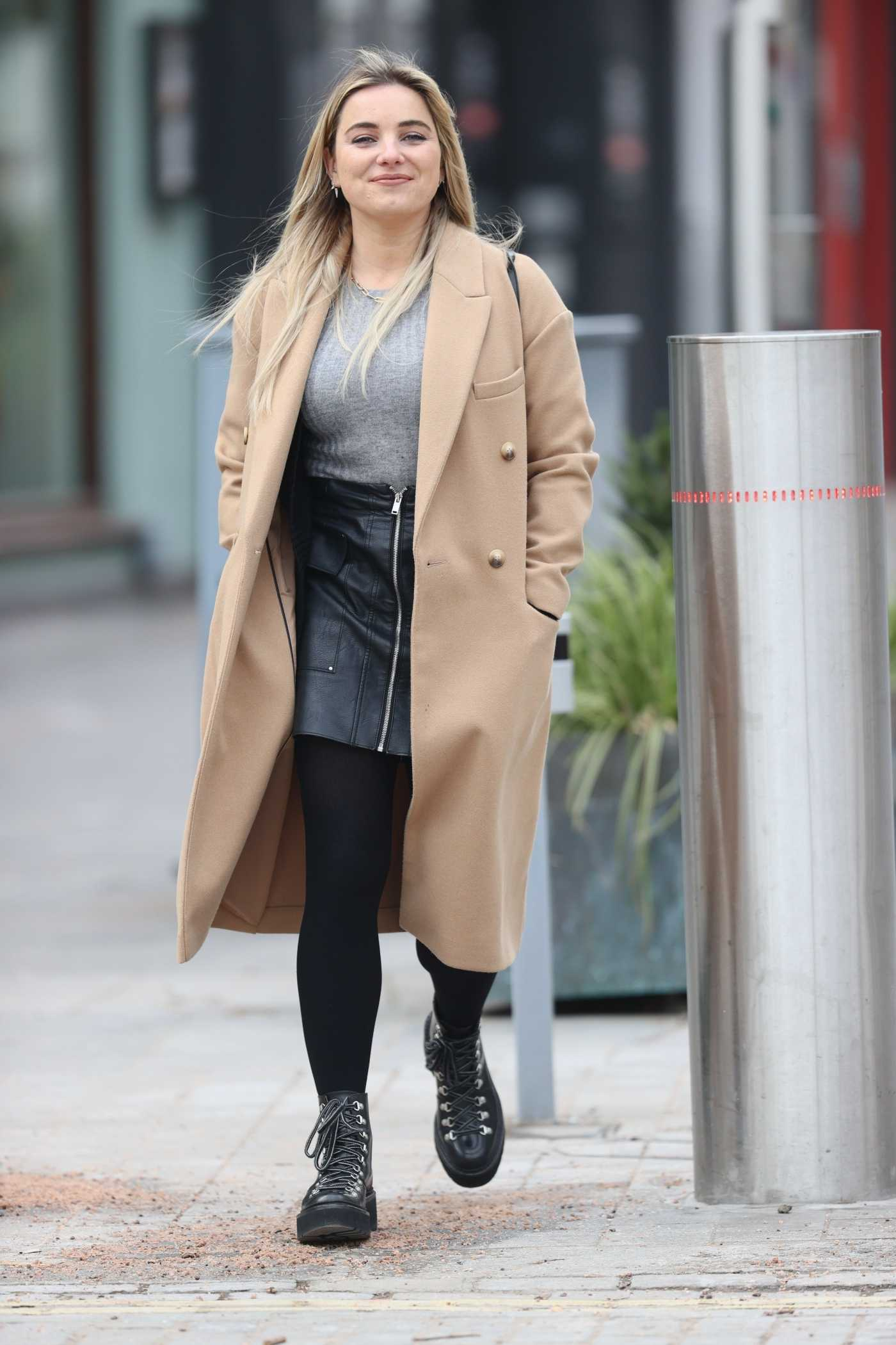 Sian Welby in a Beige Coat Leaves the Global Studios in London 02/11/2021
