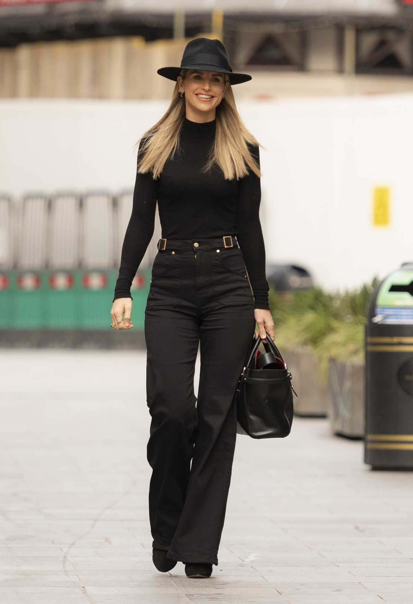 Vogue Williams in a Black Outfit Arrtives at the Heart Radio in London 02/21/2021