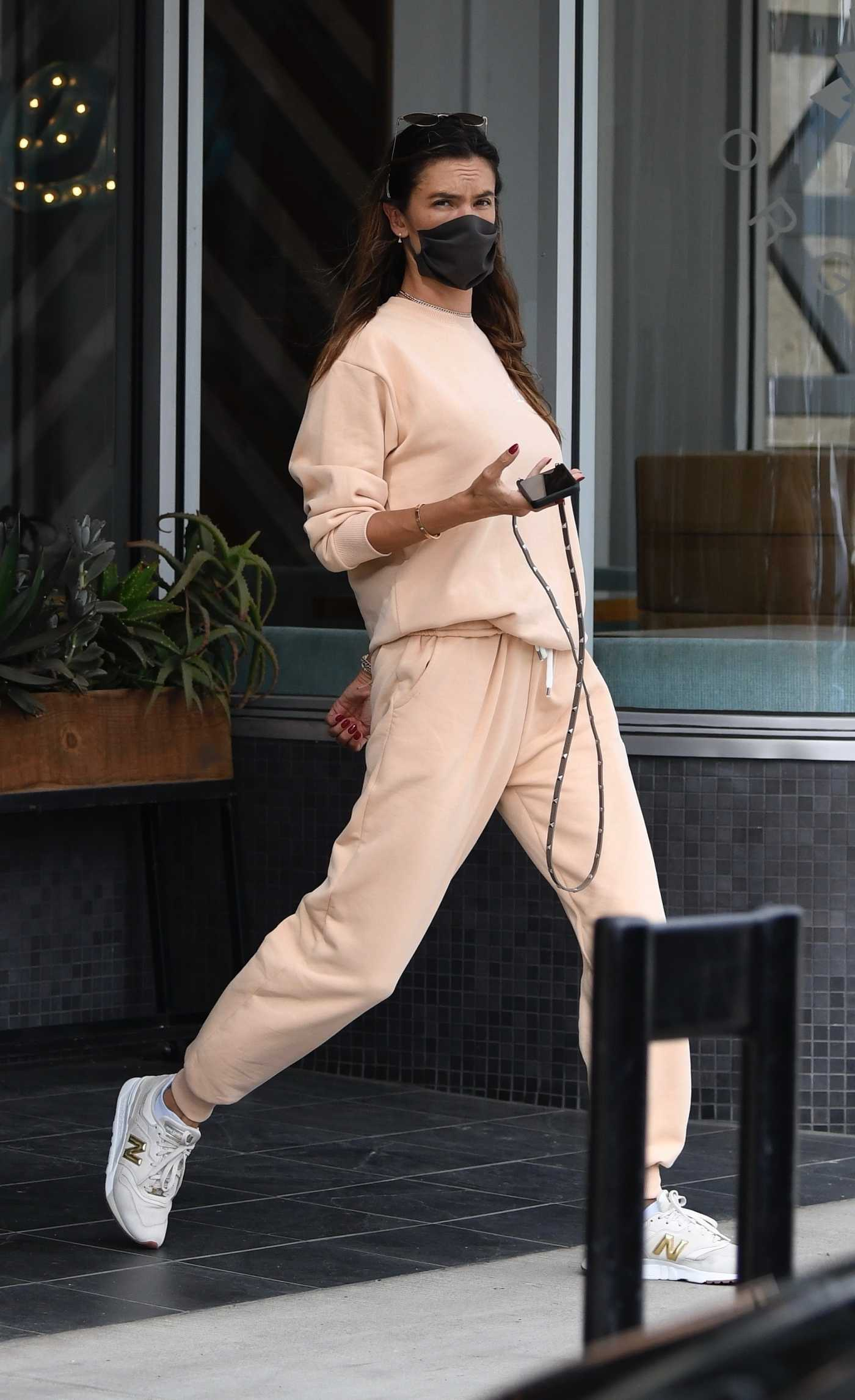 Alessandra Ambrosio in a Beige Sweatsuit Was Seen Out in Brentwood 03/07/2021