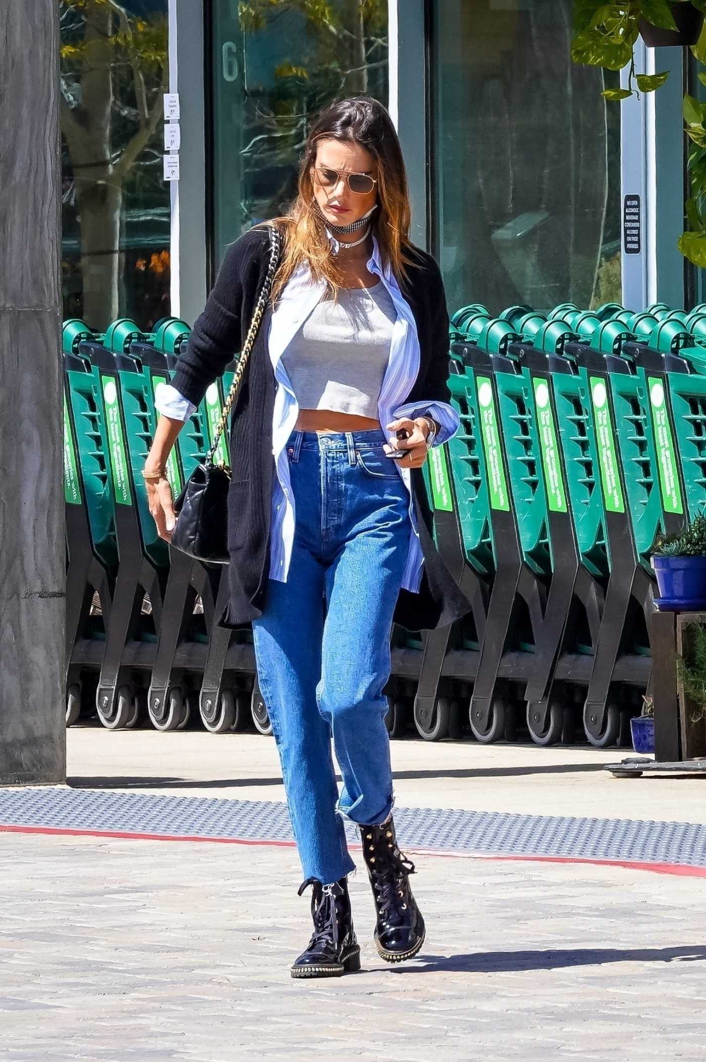 Alessandra Ambrosio in a Black Boots Was Seen Out in Malibu 03/26/2021