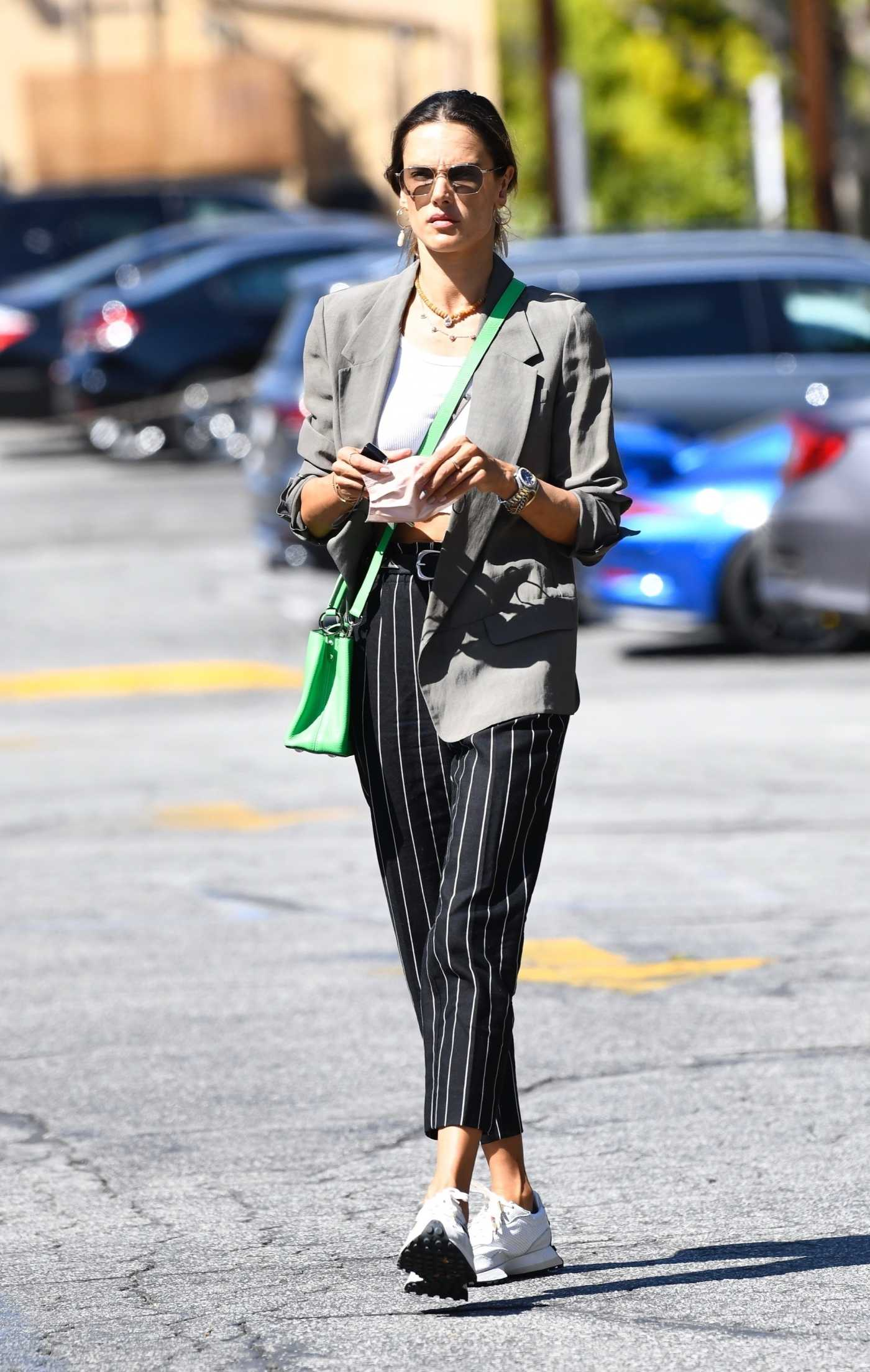 Alessandra Ambrosio in a Black Striped Pants Was Seen Out in Brentwood 03/22/2021