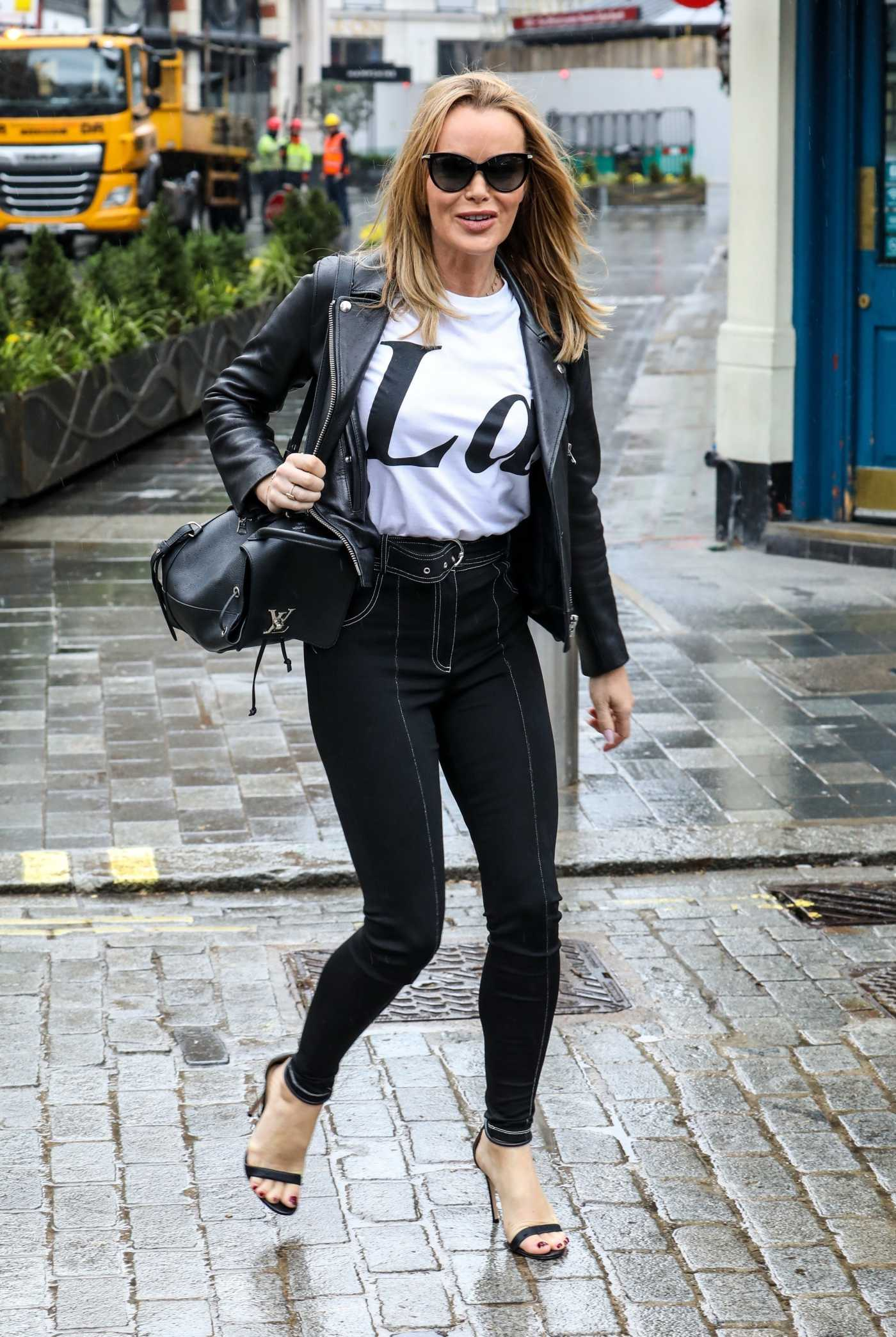 Amanda Holden in a Black Leather Jacket Leaves the Global Radio Studios in London 03/10/2021