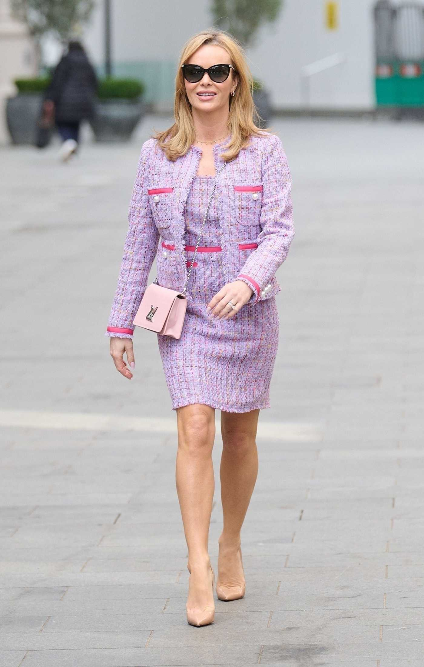Amanda Holden in a Lilak Suit Leaves the Global Radio Studios in London 03/15/2021