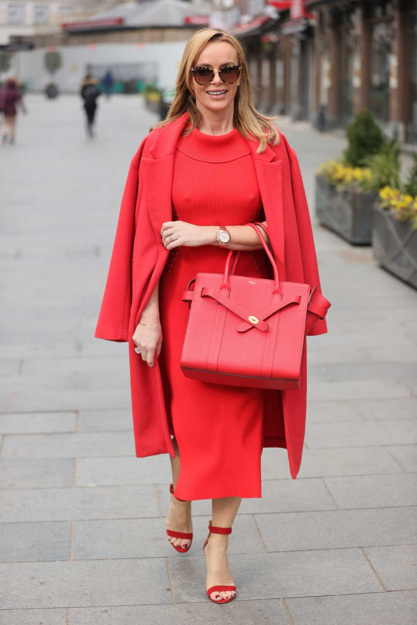Amanda Holden in a Red Outfit Arrives at the Heart Radio Studios in London 03/01/2021